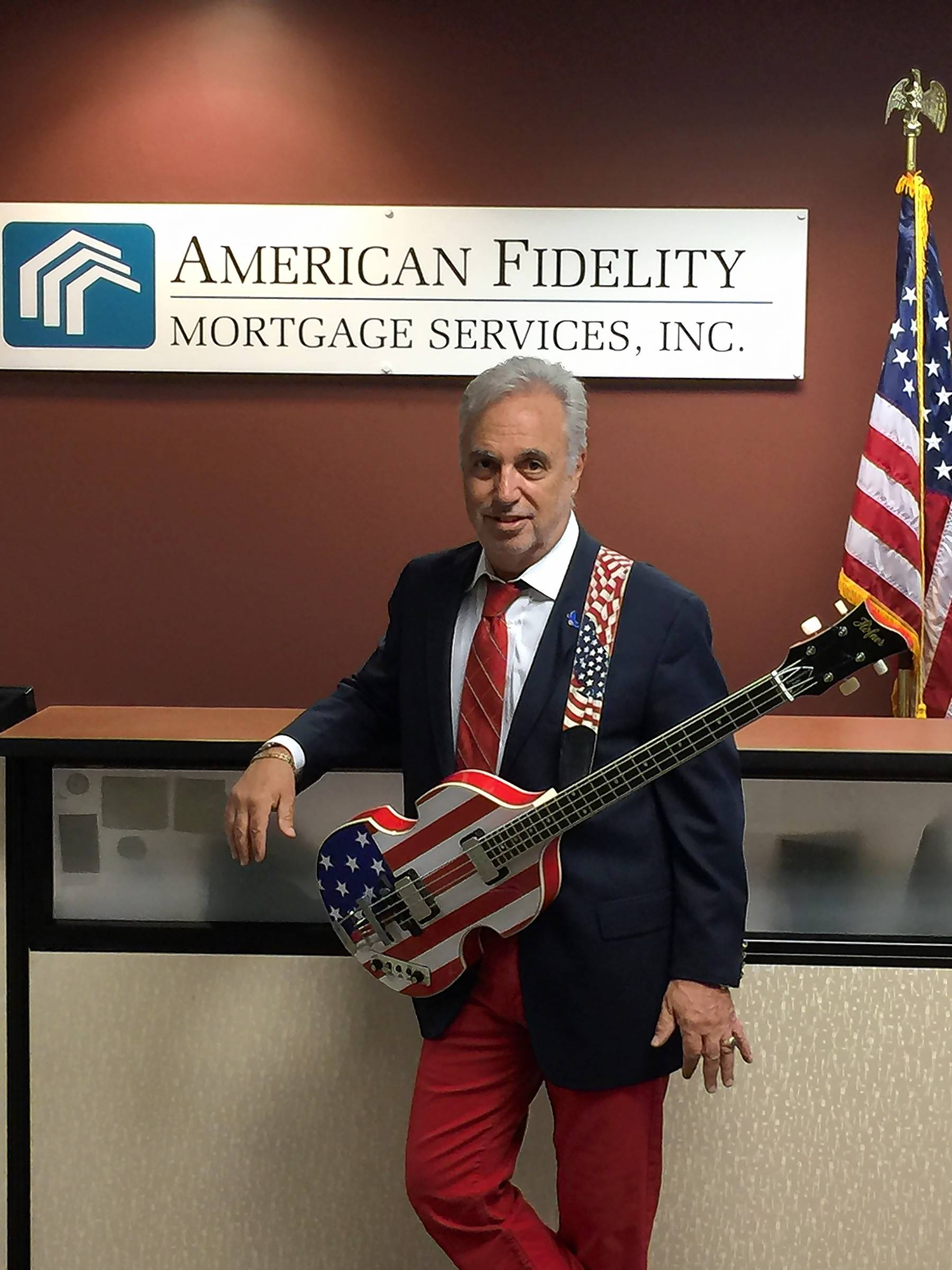 Joe Cuttone, president of American Fidelity Mortgage, played bass guitar in an earlier gig but has owned the mortgage company since 2006.