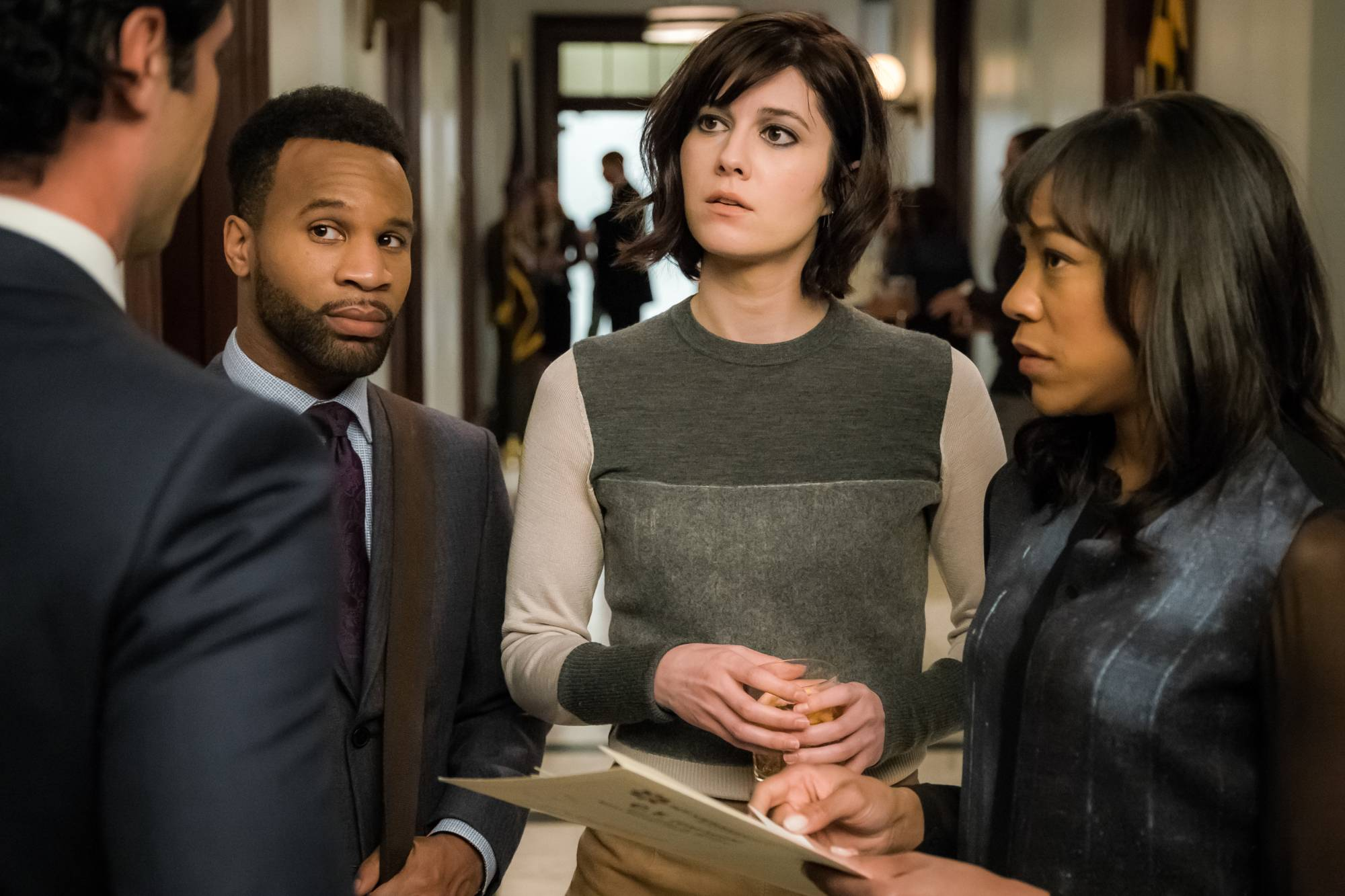 "Danny Pino, left, Johnny Ray Gill, Mary Elizabeth Winstead and Nikki M. James star in ""BrainDead."""