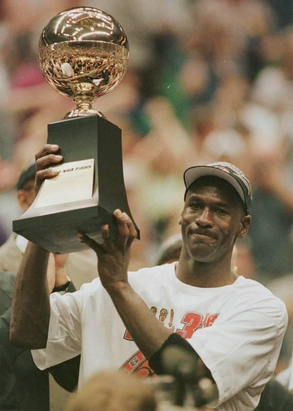 Michael Jordan With His MVP Trophy After The Bulls Won Game 6 Against Utah Jazz