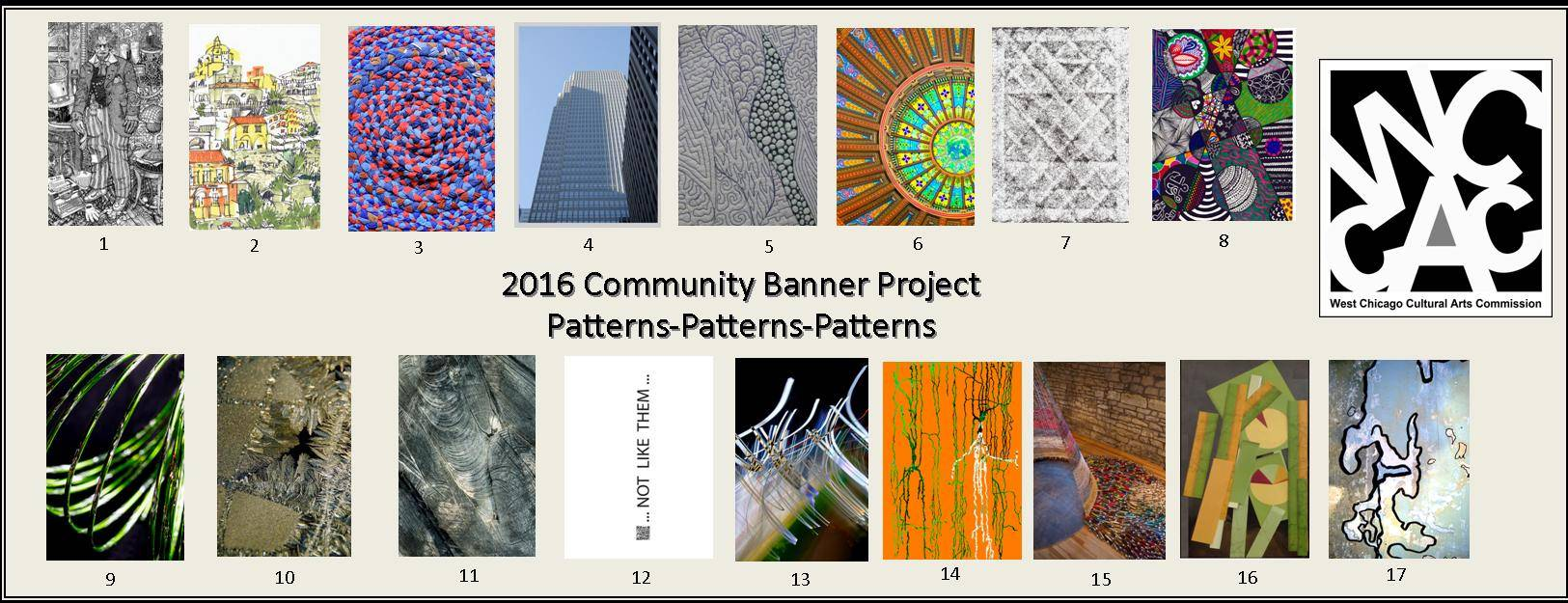 The cover of the 2016 Community Art Banner Walking Tour Map shows the 17 original works of art that have been transferred to banners and which hang on Main Street in West Chicago until early September.