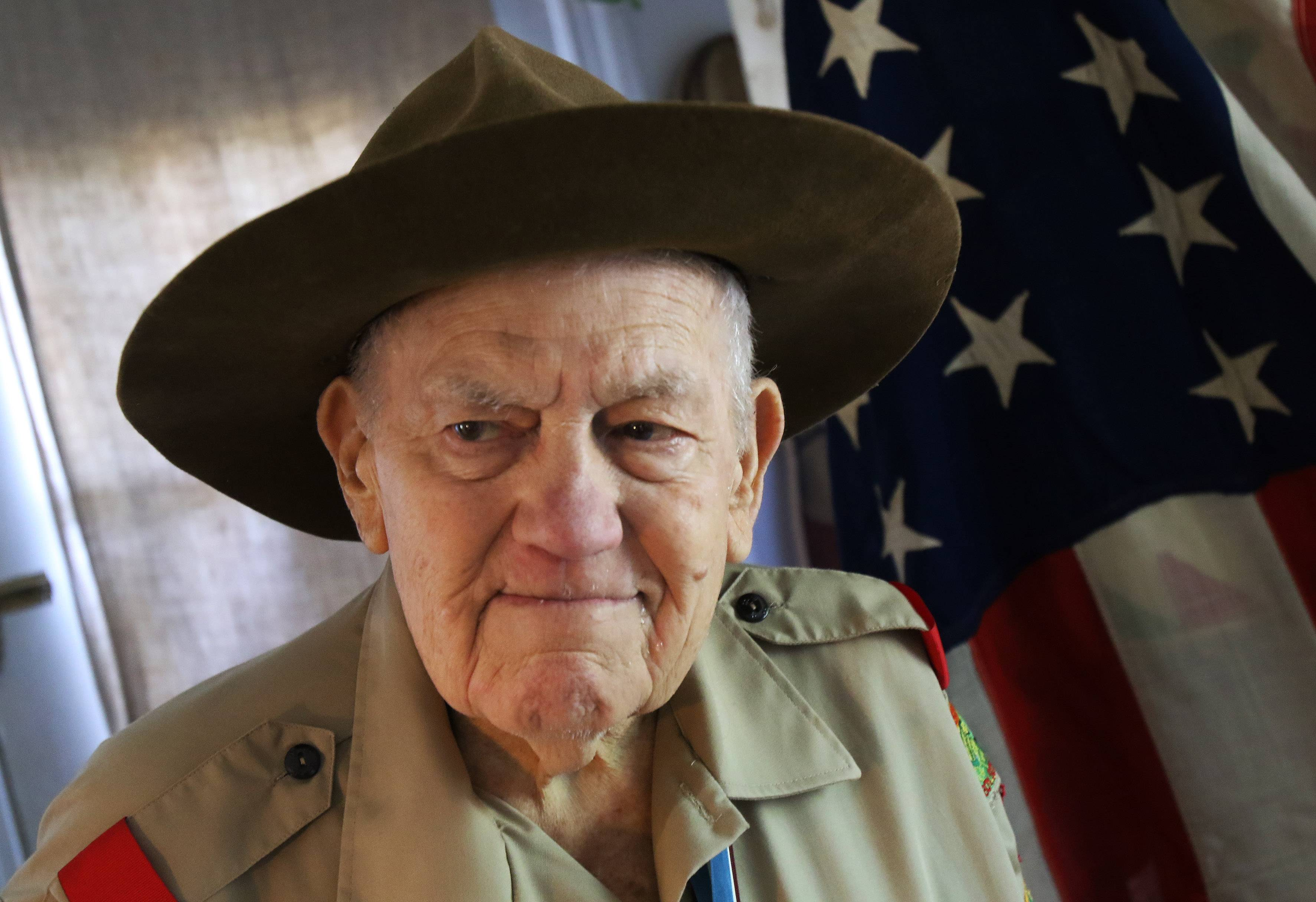 "Ninety-year-old Boy Scout George ""Bob"" Jarvis, of Grayslake discusses his experiences with young scouts."