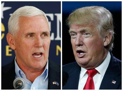This photo combination of file images shows Indiana Gov. Mike Pence, left, and Republican presidential candidate Donald Trump. A major shake-up for Indiana politics could be coming this week as Trump considers Pence as his Republican vice presidential choice. Pence is expected to attend a fundraising event and rally in Indiana with Trump on Tuesday, July 12.