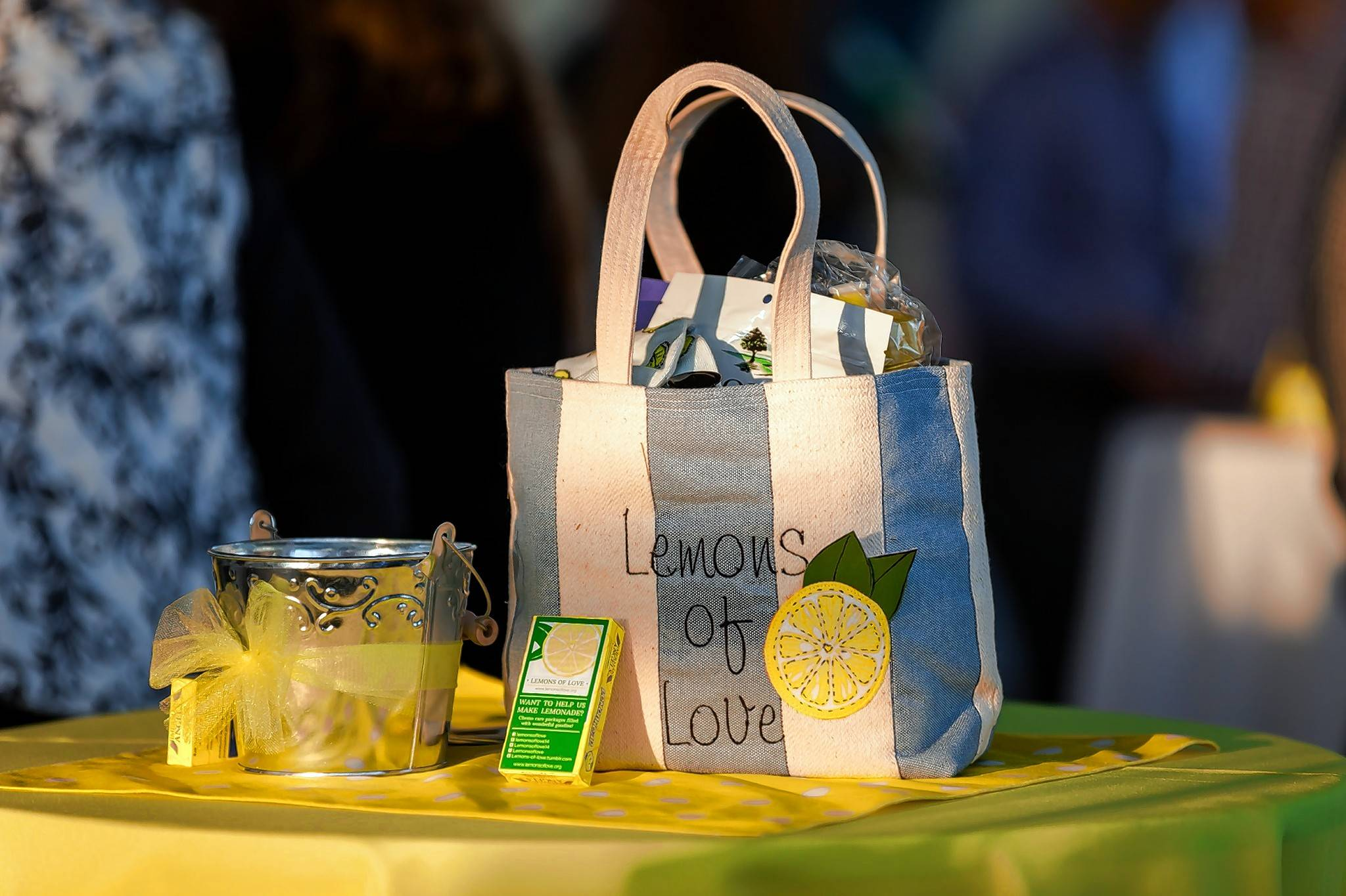 A Lemons of Love bag filled with things someone undergoing chemo might find useful.