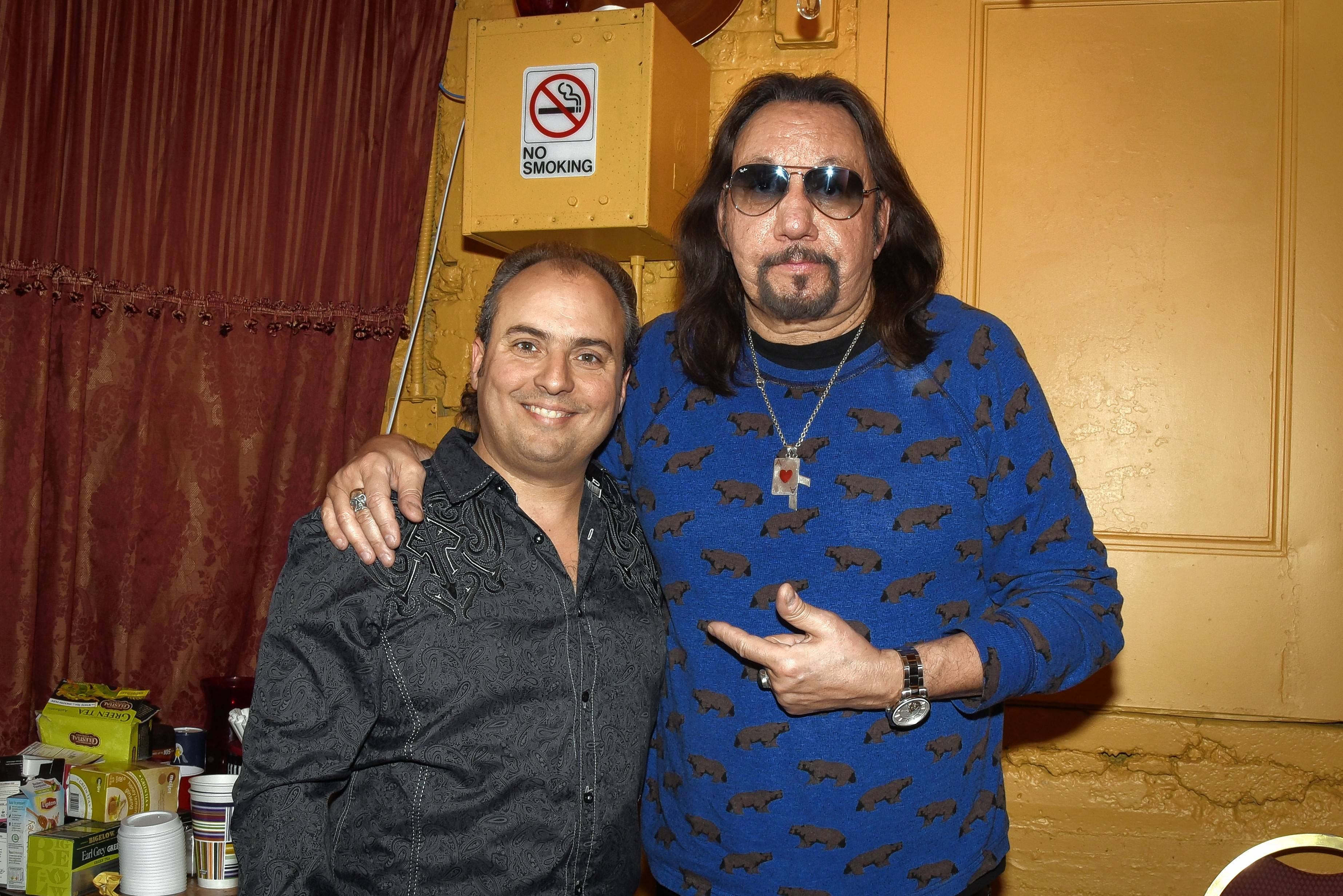 Ace Frehley, right, one of the founding members of KISS, and Ron Onesti during a previous gig.