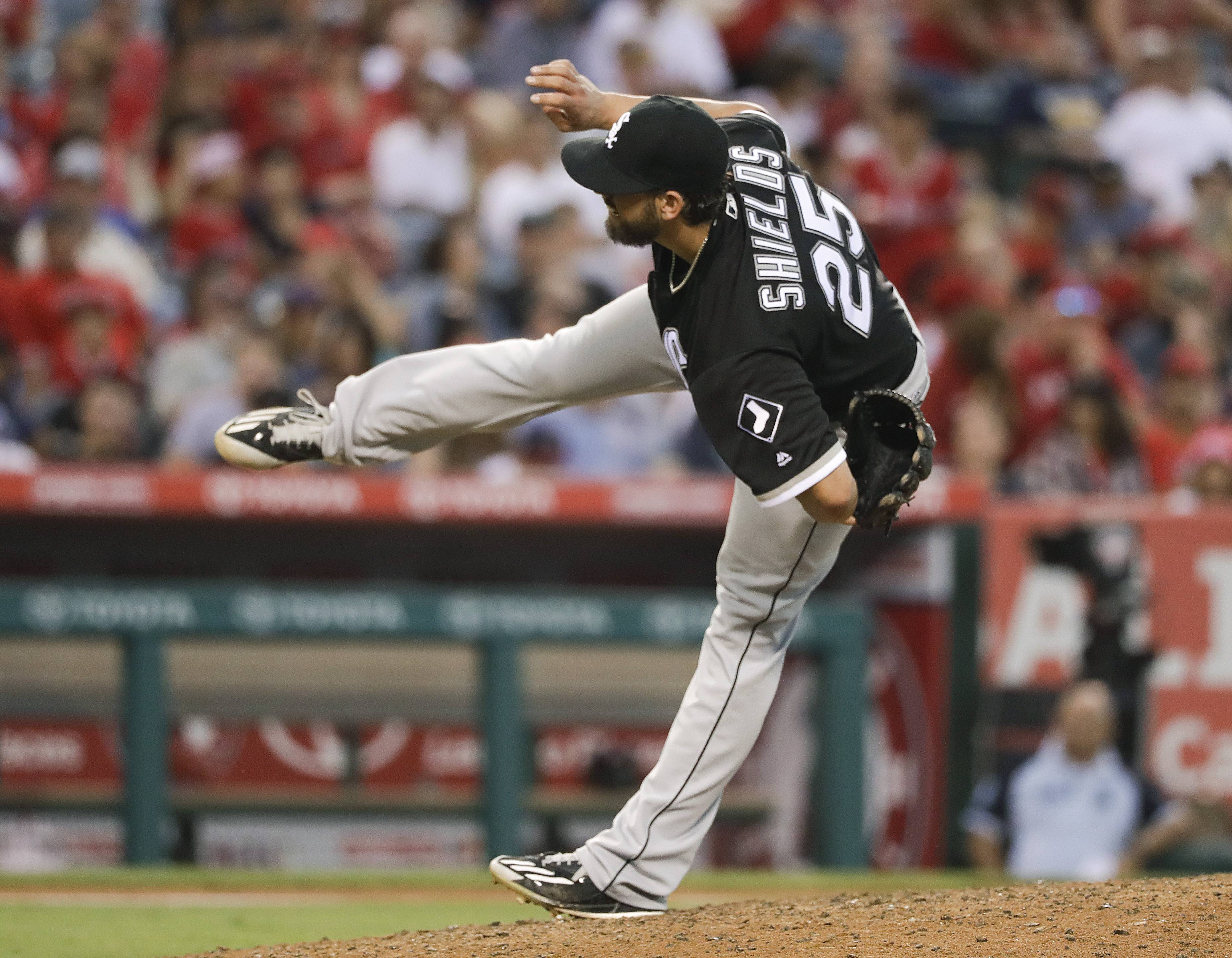 White Sox starting pitcher James Shields throws against the Los Angeles Angels during the seventh inning on Saturday in Anaheim, Calif. Shields threw a 2-hitter but was ultimately outdueled by Angels pitcher Matt Shoemaker.