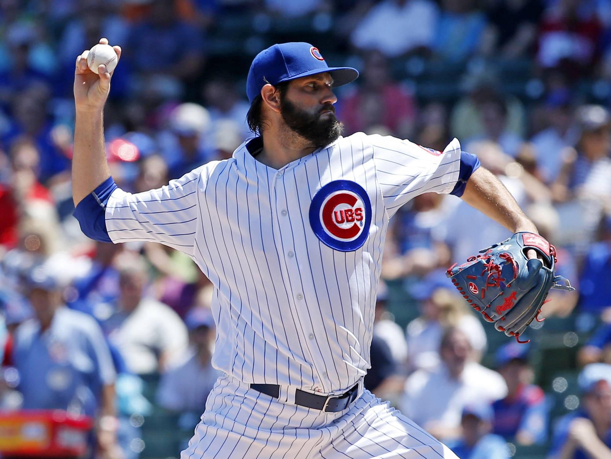 Jason Hammel pitched 6 solid innings Saturday, and the Cubs defeated the Texas Rangers 3-1 at Wrigley Field. It was the Cubs' third straight victory as they improved to 55-35.