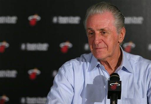 Miami Heat president Pat Riley speaks during an NBA basketball news conference, Saturday, July 16, 2016, in Miami. (David Santiago/El Nuevo Herald via AP)
