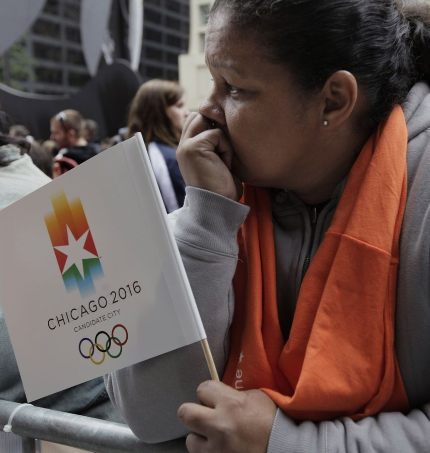 A Chicago 2016 supporter reacts after the Oct. 2, 2009, announcement that Chicago had been eliminated as a contender for the 2016 Summer Olympic Games.