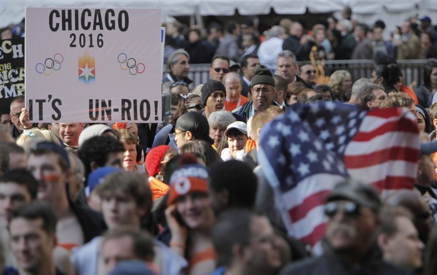 Chicago 2016 supporters hold up a sign in Daley Plaza in 2009 as they wait for the announcement whether the city would host the 2016 Olympic Games.