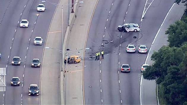 A view from a helicopter early Tuesday shows the scene after a 21-year-old from Mount Prospect and a 64-year-old from Lisle were killed in a collision in the northbound lanes of Route 53 in Rolling Meadows.