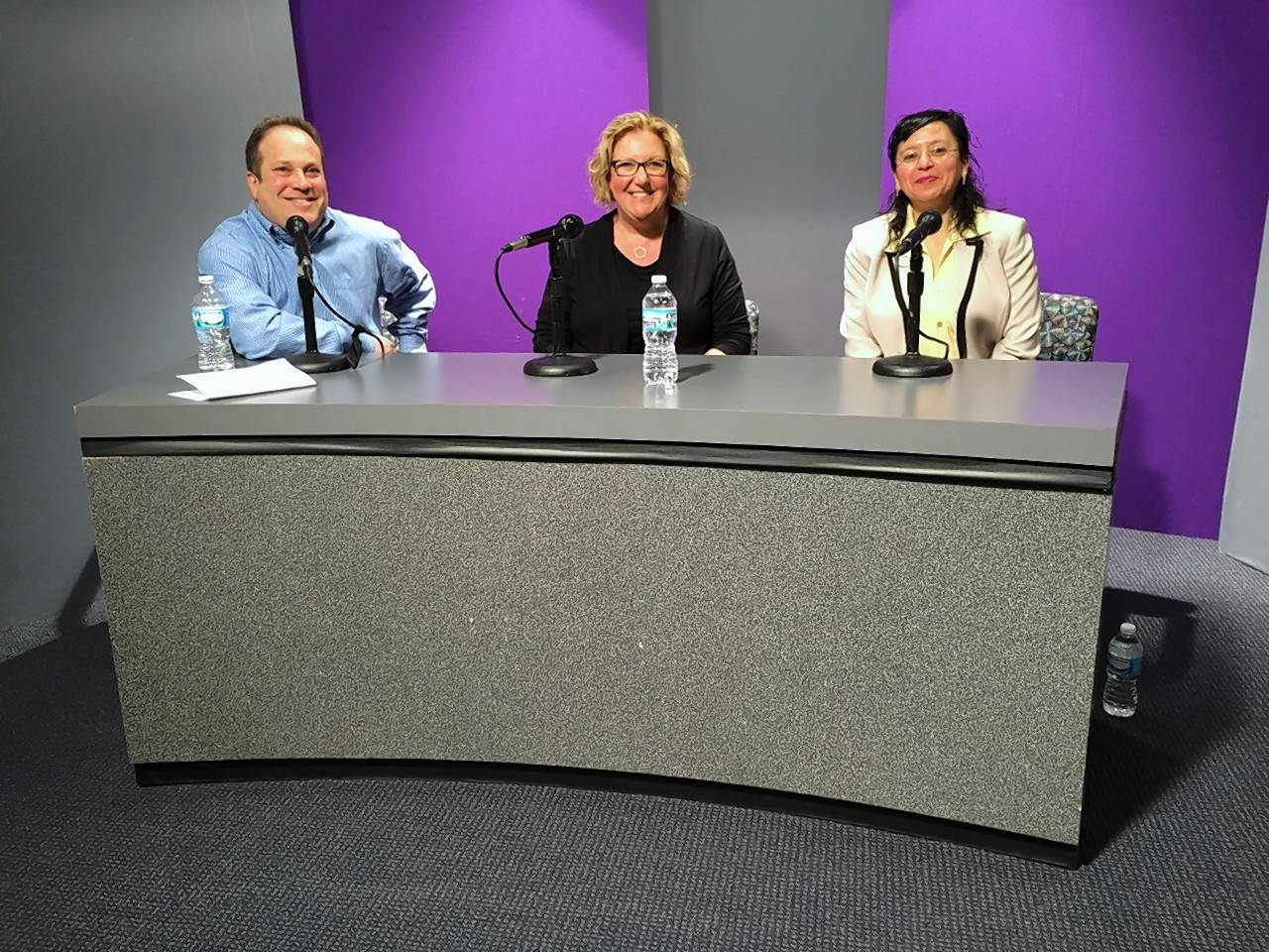 Josh Grodzin, Elk Grove Village director of business development and marketing, left, Kathryn Miller, owner and president of HST Materials; and Gladys Moscoso, administrator of EM Metal Fabricators, appear on Strictly Business, a new podcast hosted by Grodzin.