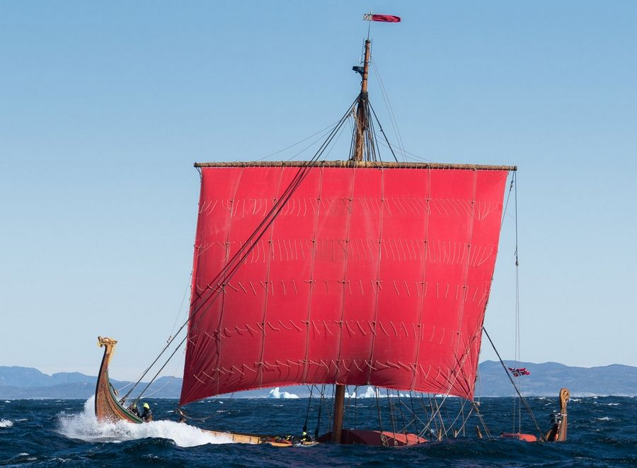 The replica Viking ship Draken Harald Hårfagre, sailing near Greenland in this photo, will make it to Chicago's Tall Ships exhibition from July 27 to 31 at Navy Pier.