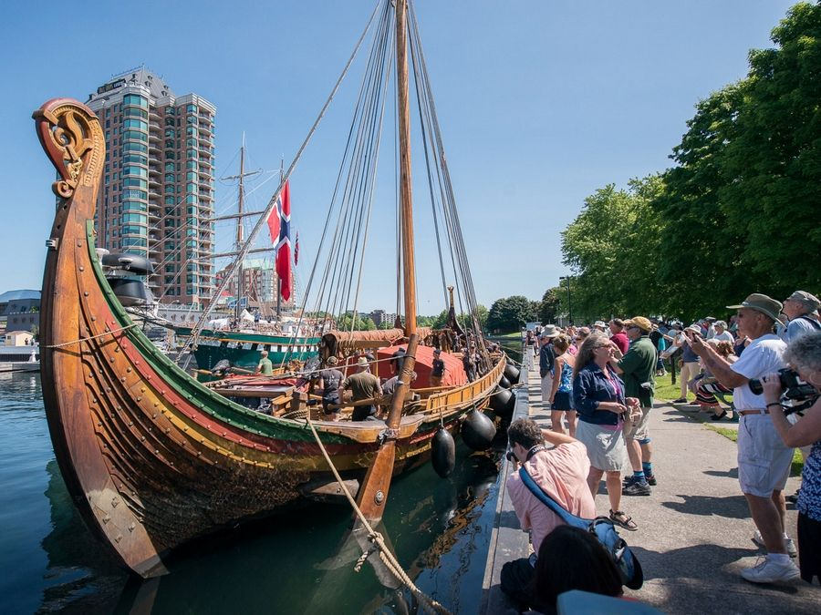 The Viking ship Draken Harald Hårfagre is docked during one of its many stops along its North American journey to Chicago. Organizers of the expedition Tuesday reconfirmed the Draken's scheduled attendance of the Tall Ships exhibition from July 27 to 31 at Navy Pier.