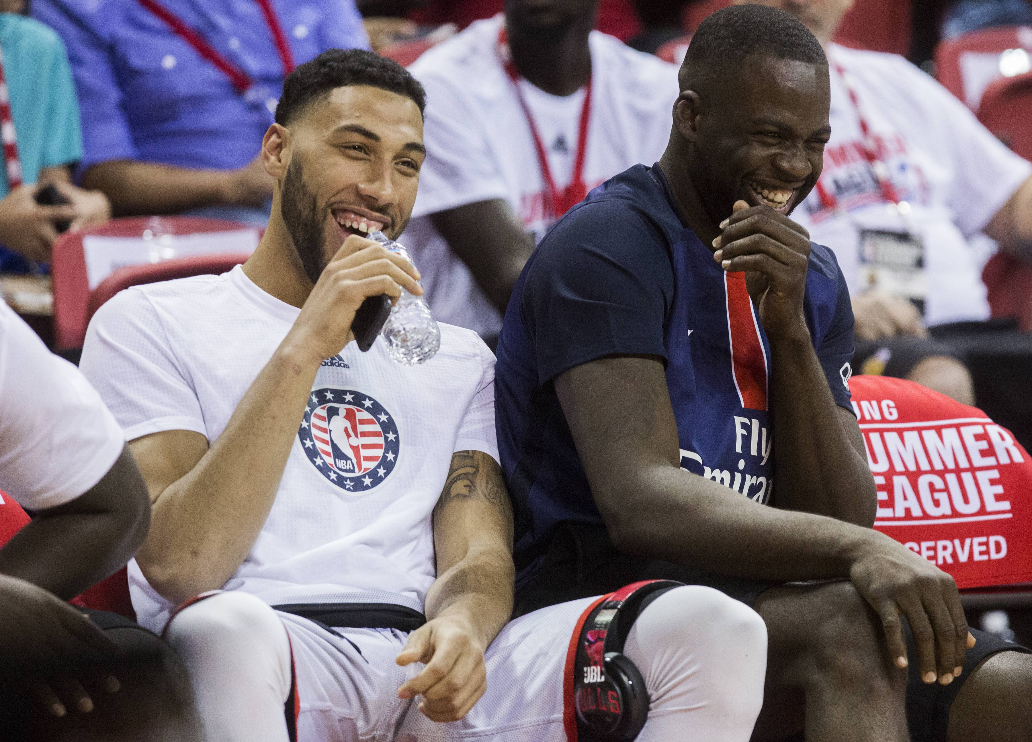 Chicago Bulls Rookie Denzel Valentine, At Left Sitting With Fellow Michigan  State Standout Draymond Green