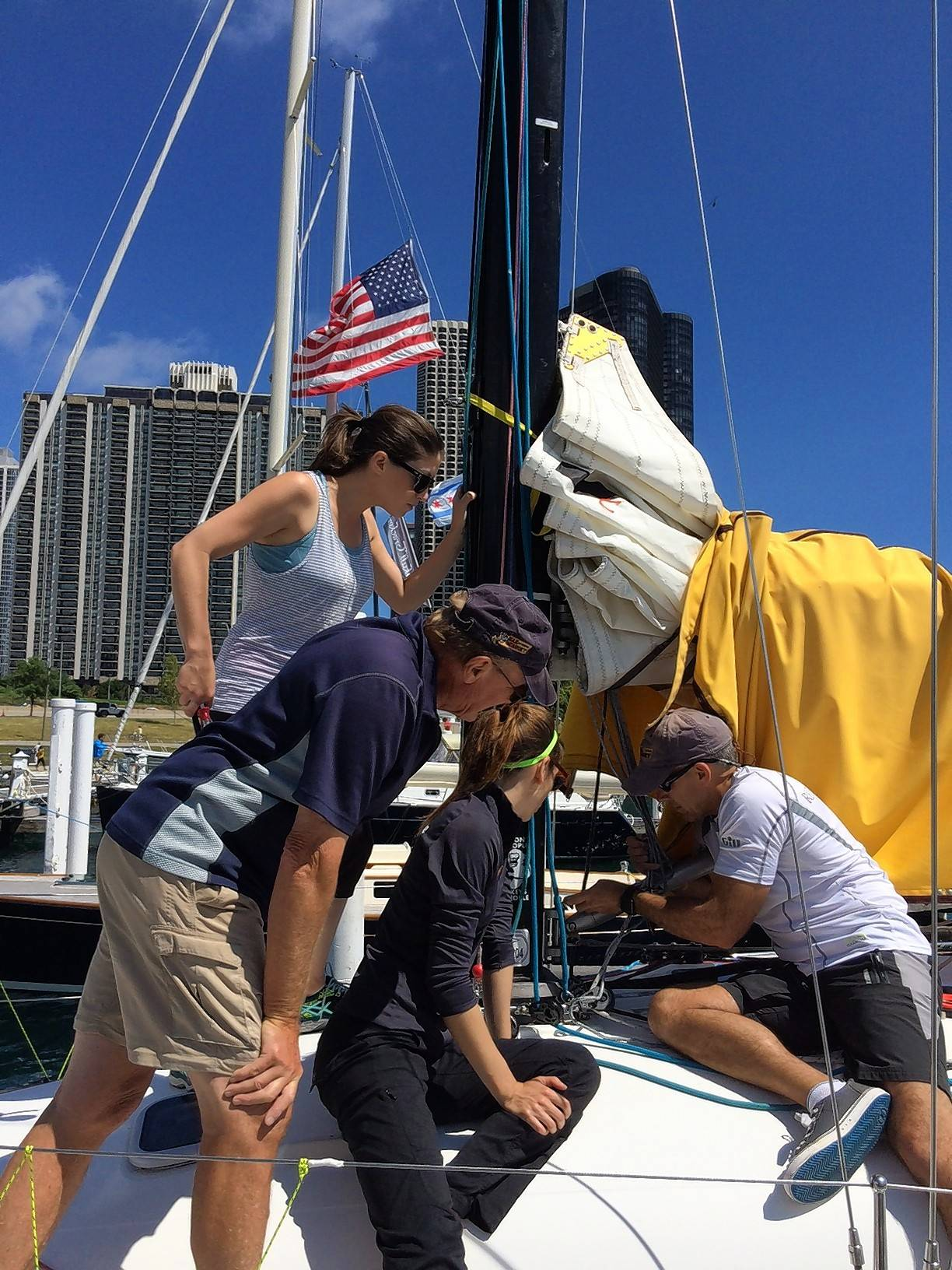 Crew members of the Sail Monkey get ready to participate in the 108th annual Chicago Yacht Club's Race to Mackinac.