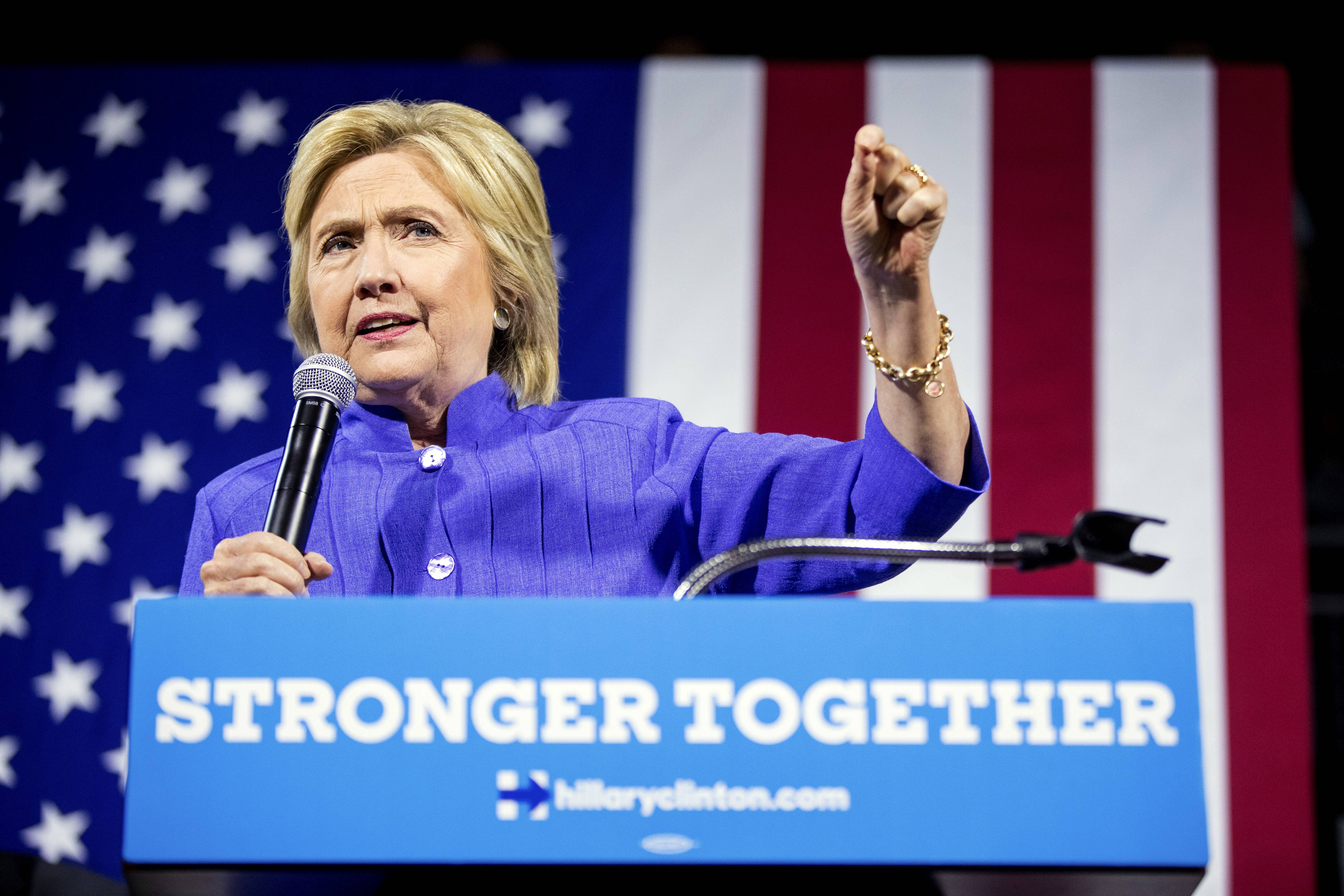 Democratic presidential candidate Hillary Clinton speaks at a rally the University of Cincinnati last week.