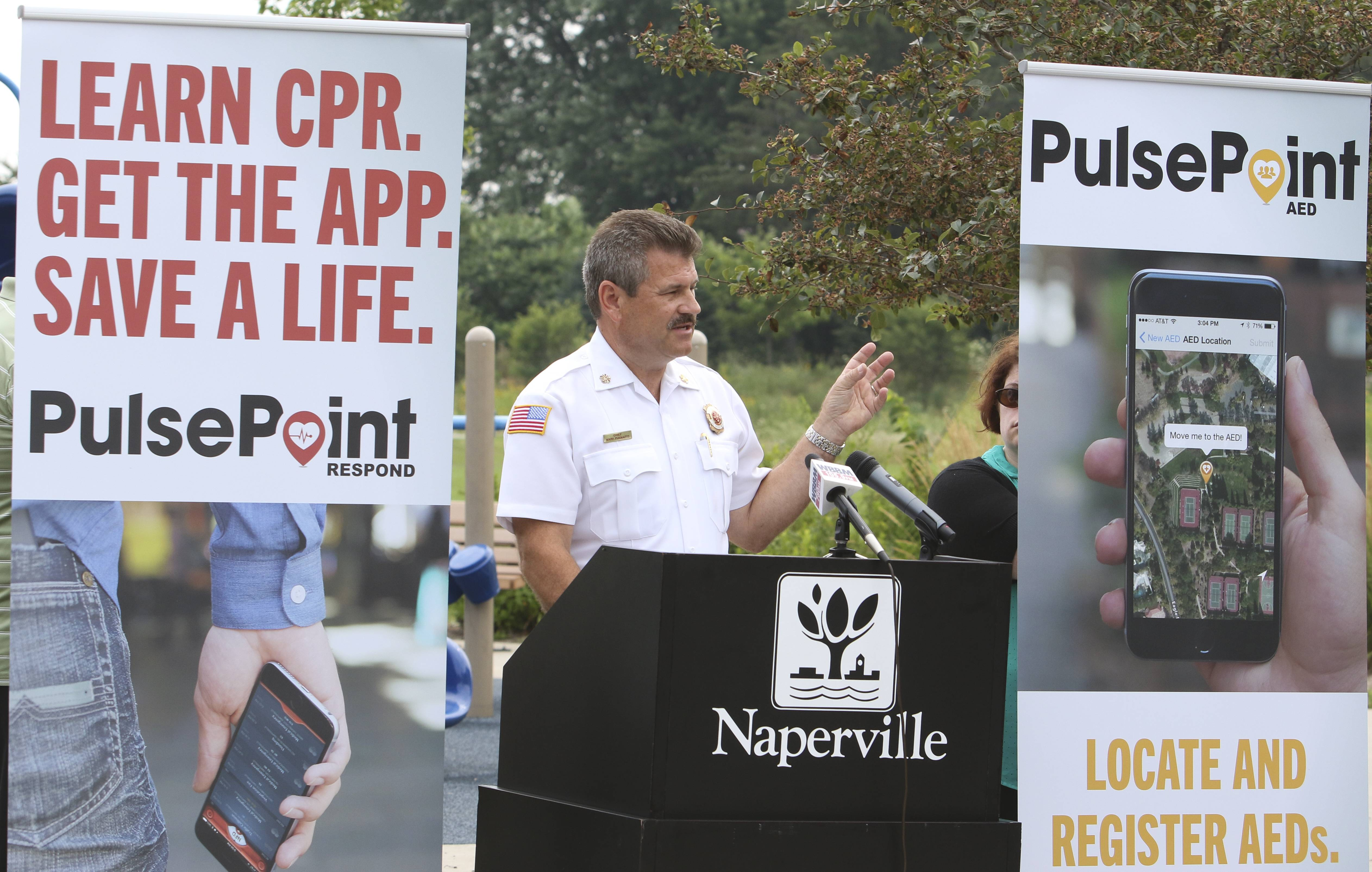 Naperville Fire Chief Mark Puknaitis introduces a new smartphone app that allows registered users to respond to cardiac emergencies that occur near them.