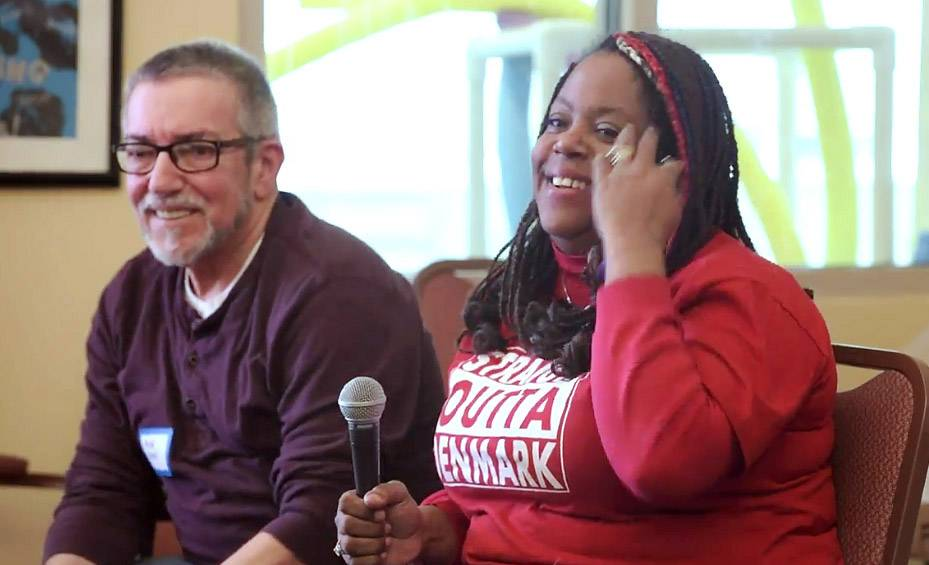Mike Burns of Gurnee and Landa Midgley of Aurora share a lighter moment during a preliminary round in Glen Ellyn of the state senior spelling bee.