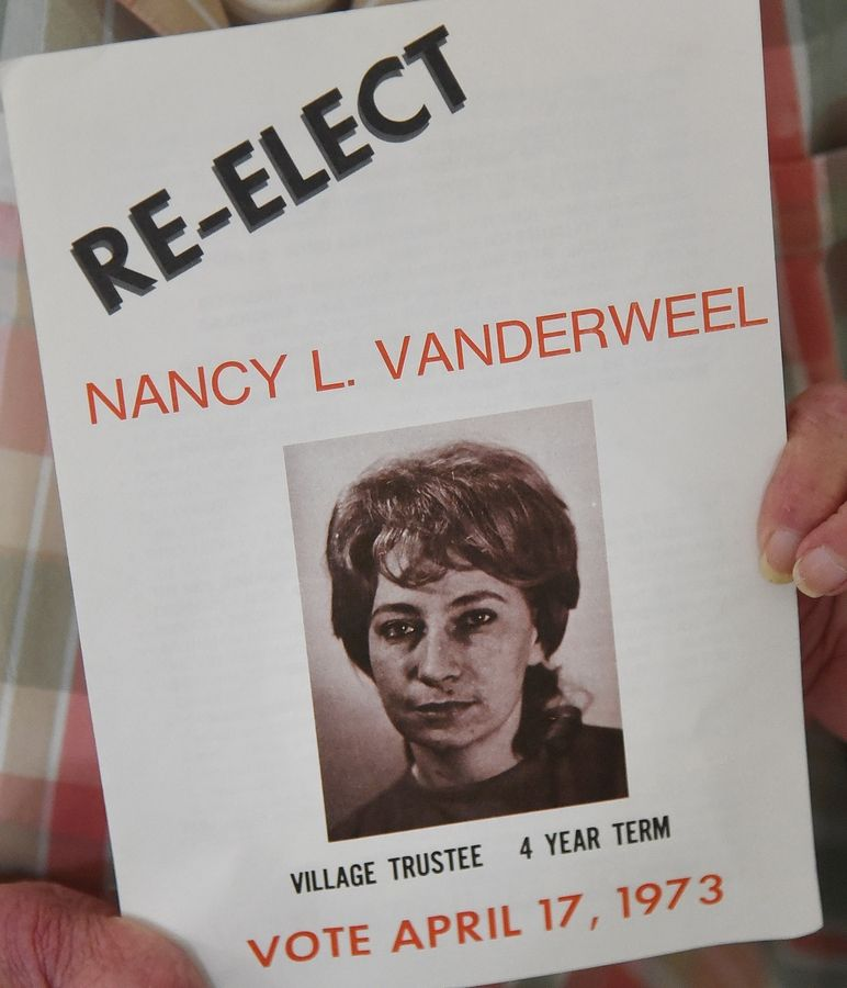 Nancy Vanderweel was the first woman to be elected to the Elk Grove Village board in 1971.