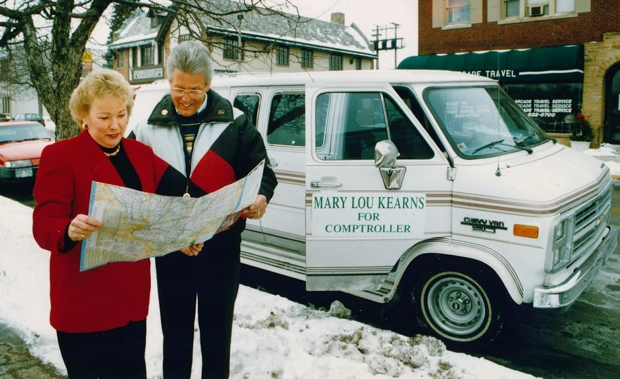 Mary Lou Kearns and her campaign van.