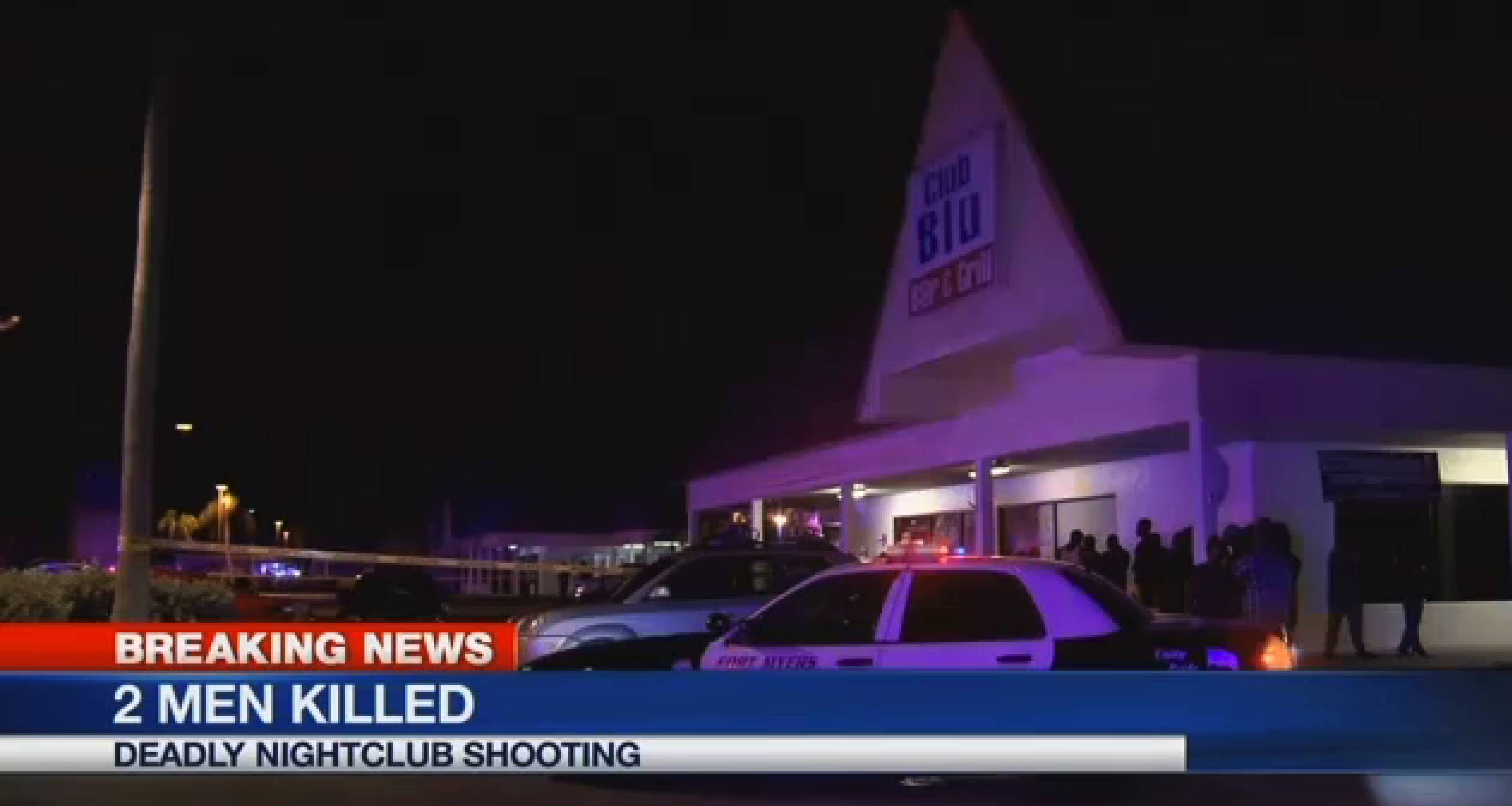 In this frame from video, people gather near the scene of a fatal shooting at Club Blu nightclub in Fort Myers, Florida, Monday, July 25, 2016.