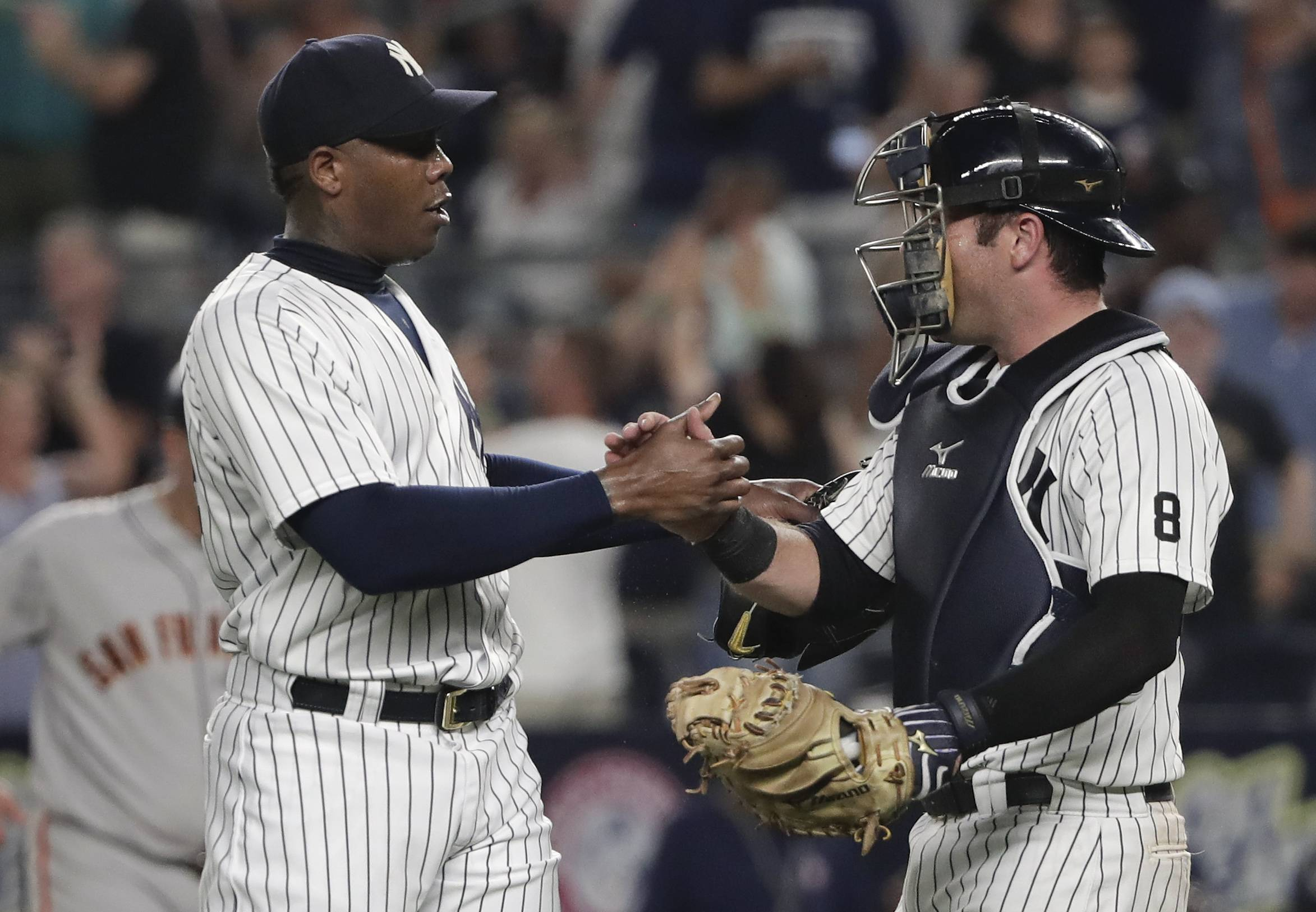 The Chicago Cubs acquired New York Yankees reliever Aroldis Chapman.