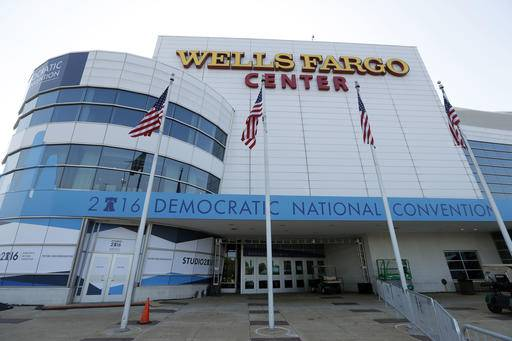 The outside of the Well Fargo Center is seen before the Democratic National Convention, Saturday, July 23, 2016 in Philadelphia. (AP Photo/Alex Brandon) The Associated Press