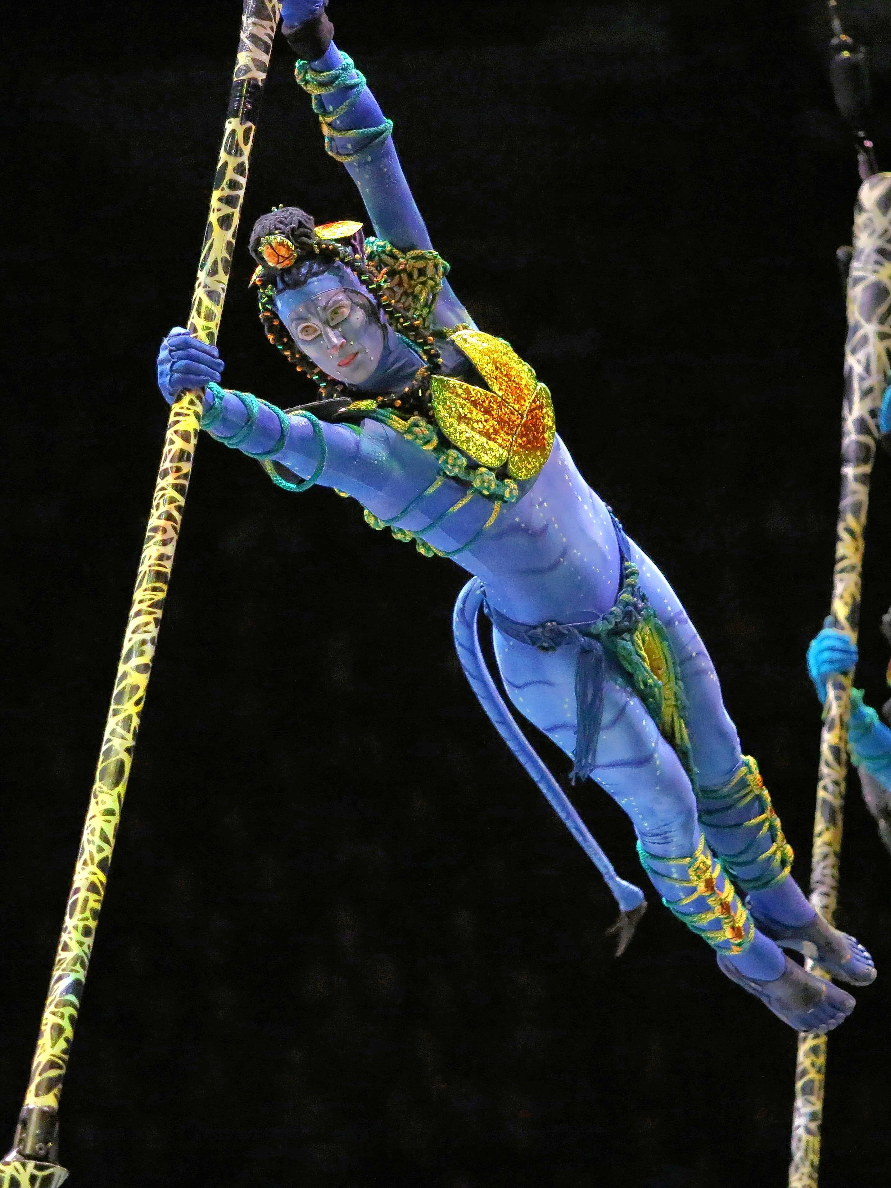 "Stacey Magiera performs in the new ""Avatar""-themed Cirque du Soleil show, ""TORUK — The First Flight."""