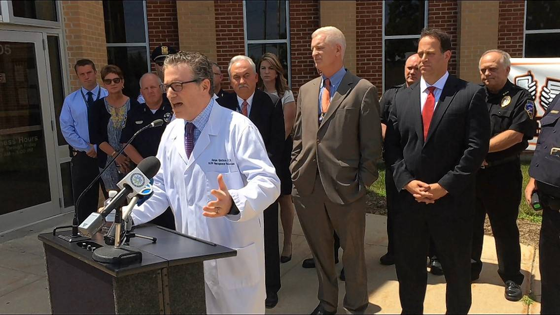 Dr. Aaron Epstein, medical director of Northwestern Medicine Lake Forest's emergency department and the hospital group's outpatient center in Grayslake, speaks at a Tuesday news conference about a campaign involving at least 11 Lake County law-enforcement agencies to combat texting and driving.