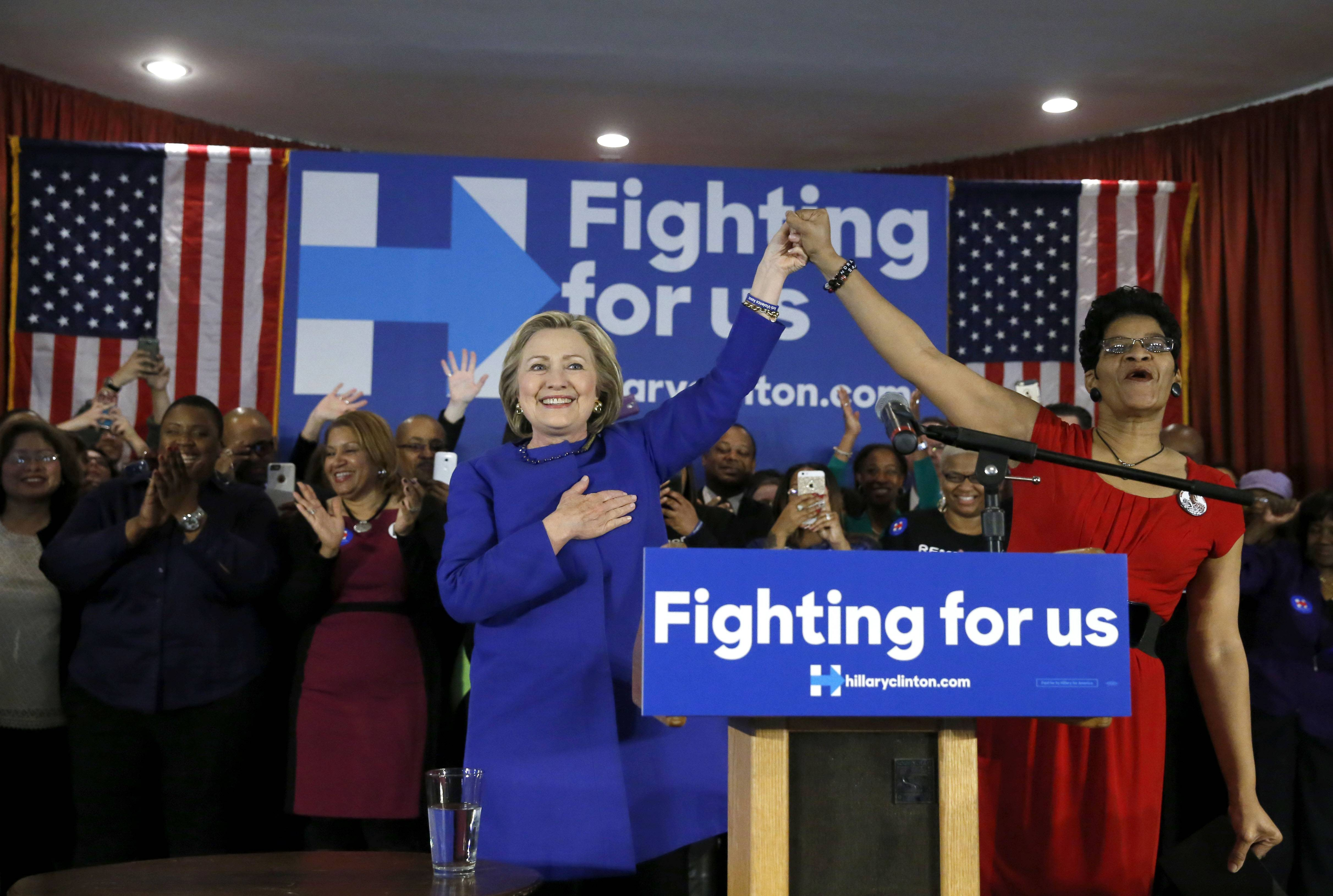 Democratic presidential candidate Hillary Clinton appears with Geneva Reed-Veal, the mother of Sandra Bland, earlier this year in Chicago.