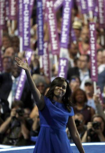 First Lady Michelle Obama speaks to delegates during the first day of the Democratic National Convention in Philadelphia , Monday, July 25, 2016. (AP Photo/Matt Rourke)