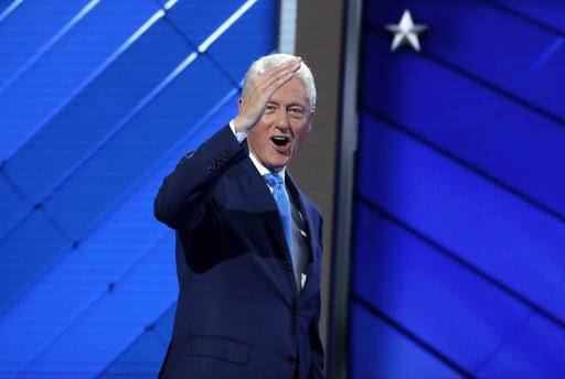 Former President Bill Clinton gives his thumb up after the first day of the Democratic National Convention in Philadelphia , Monday, July 25, 2016. (AP Photo/Matt Rourke)