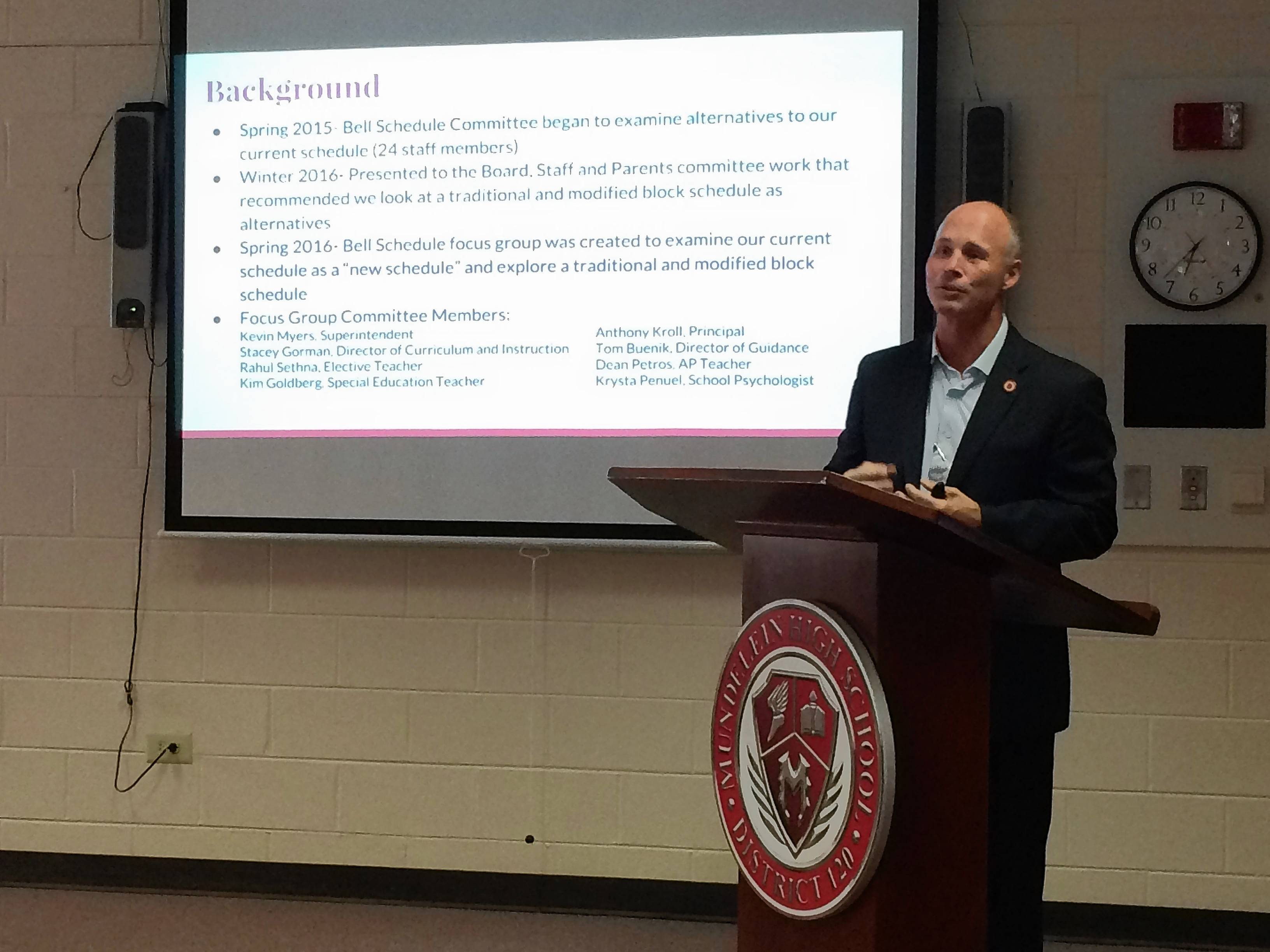 Superintendent Kevin Myers talks Tuesday about the pros and cons of Mundelein High's unusual block schedule.