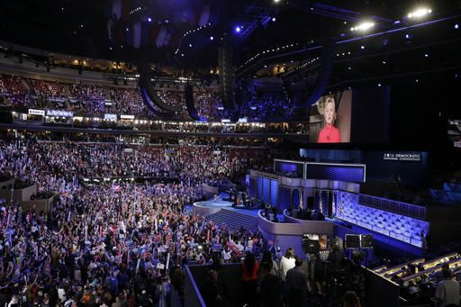Democratic Presidential candidate Hillary Clinton appears son the screen during the second day session of the Democratic National Convention in Philadelphia, Tuesday, July 26, 2016.