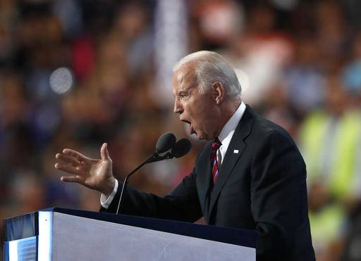 Vice President Joe Biden speaks during the third day of the Democratic National Convention in Philadelphia , Wednesday, July 27, 2016.