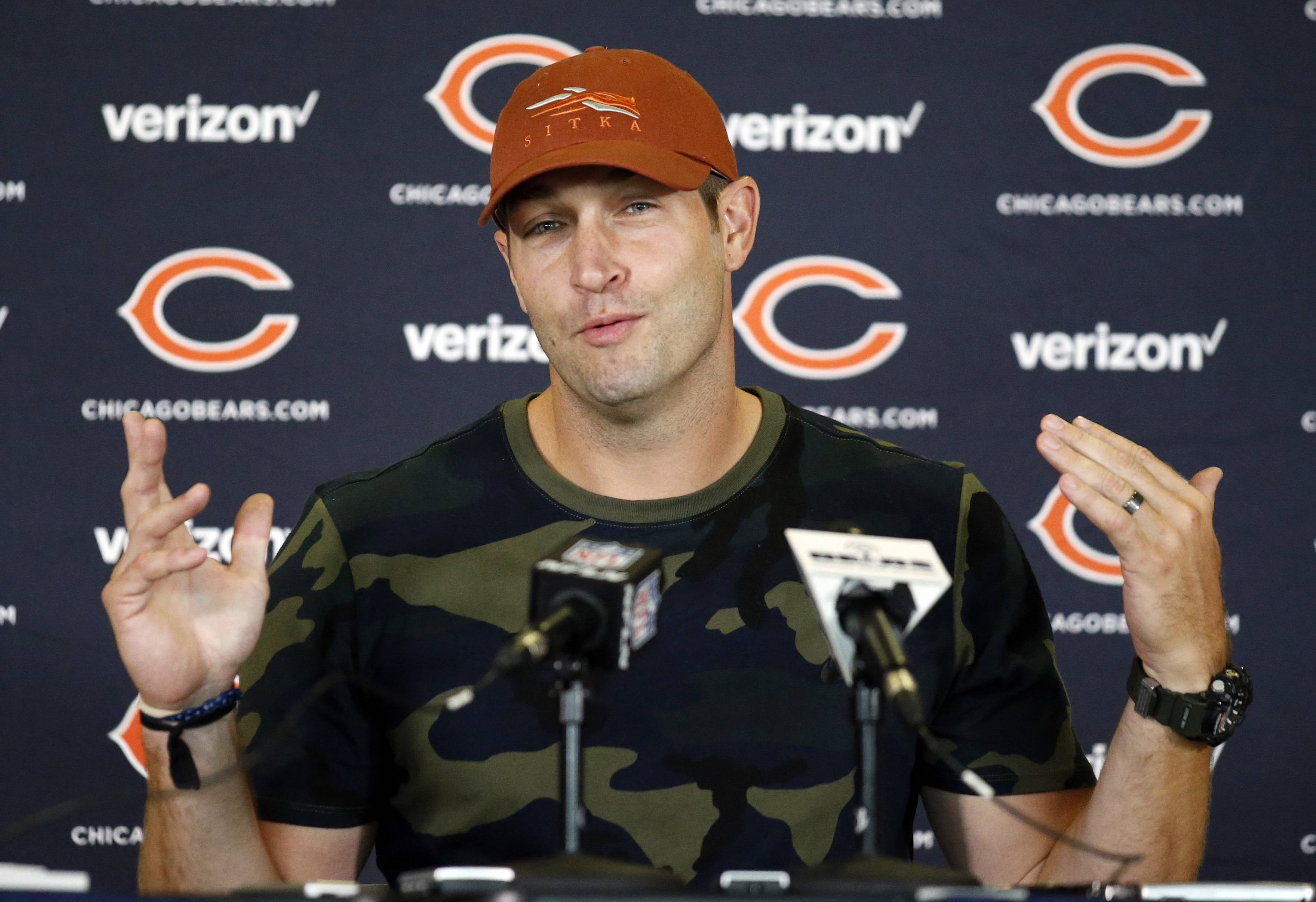 Chicago Bears quarterback Jay Cutler smiles as he speaks at a news conference during team's NFL football training camp at Olivet Nazarene University, Wednesday, July 27, 2016, in Bourbonnais, Ill. (AP Photo/Nam Y. Huh)