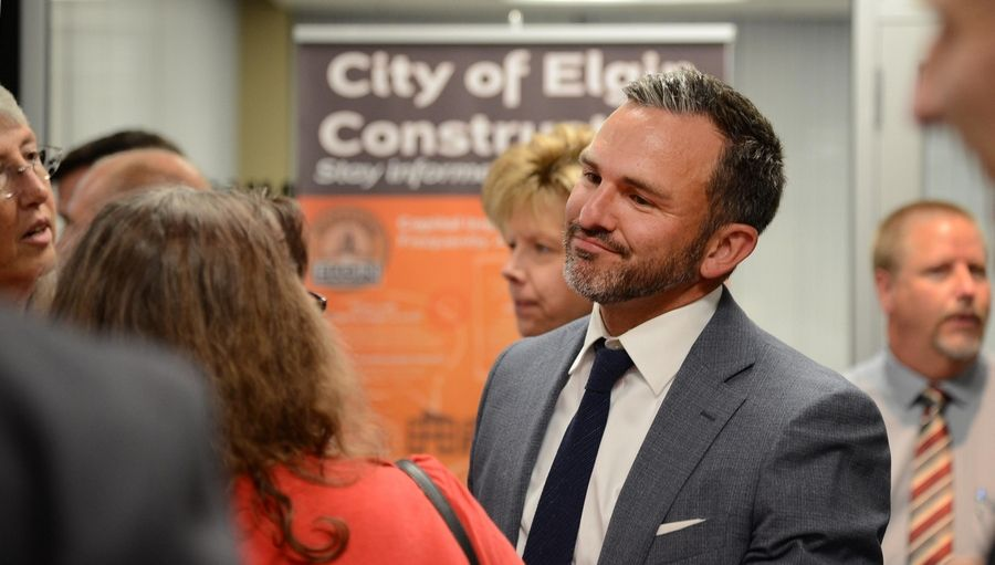 Elgin City Manager Sean Stegall is leaving to serve as town manager and CEO of Cary, North Carolina, starting next week. City staff members held a going-away party for him at city hall earlier this month.
