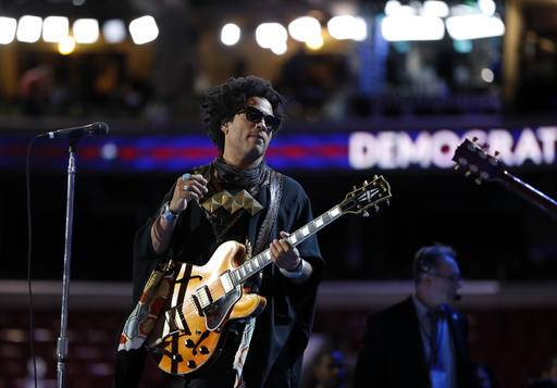 Lenny Kravitz performs during a sound check before the start of the third day session of the Democratic National Convention in Philadelphia, Wednesday, July 27, 2016. (AP Photo/Carolyn Kaster)