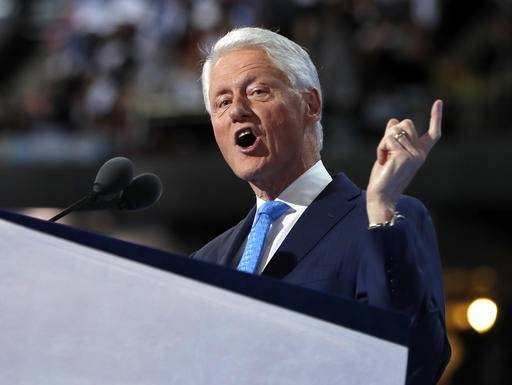 FILE - In this July 26, 2016 file photo, former President Bill Clinton speaks during the second day session of the Democratic National Convention in Philadelphia. The Democratic National Convention speaker's lineup has highlighted an increasingly diverse country that could soon elect the first female president as successor to its first black chief executive. (AP Photo/Carolyn Kaster, File)