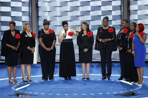 Sybrina Fulton, Geneva Reed-Veal, Lucy McBath, Gwen Carr, Cleopatra Pendleton, Maria Hamilton, Lezley McSpadden and Wanda Johnson from Mothers of the Movement speak during the second day of the Democratic National Convention in Philadelphia , Tuesday, July 26, 2016.