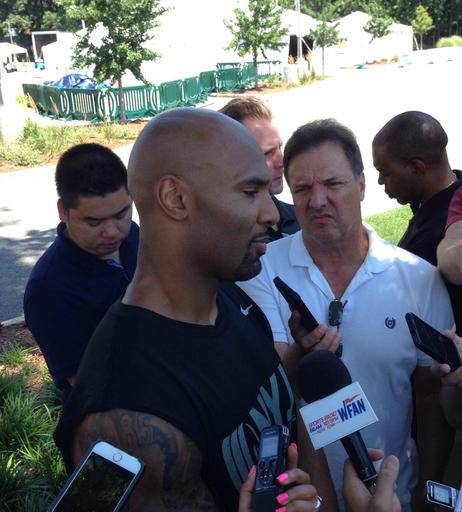 New Jets running back Matt Forte talks to the media Wednesday, July 27, 2016, at Atlantic Health Jets Training Center in Florham Park, New Jersey. (AP Photo/Dennis Waszak)