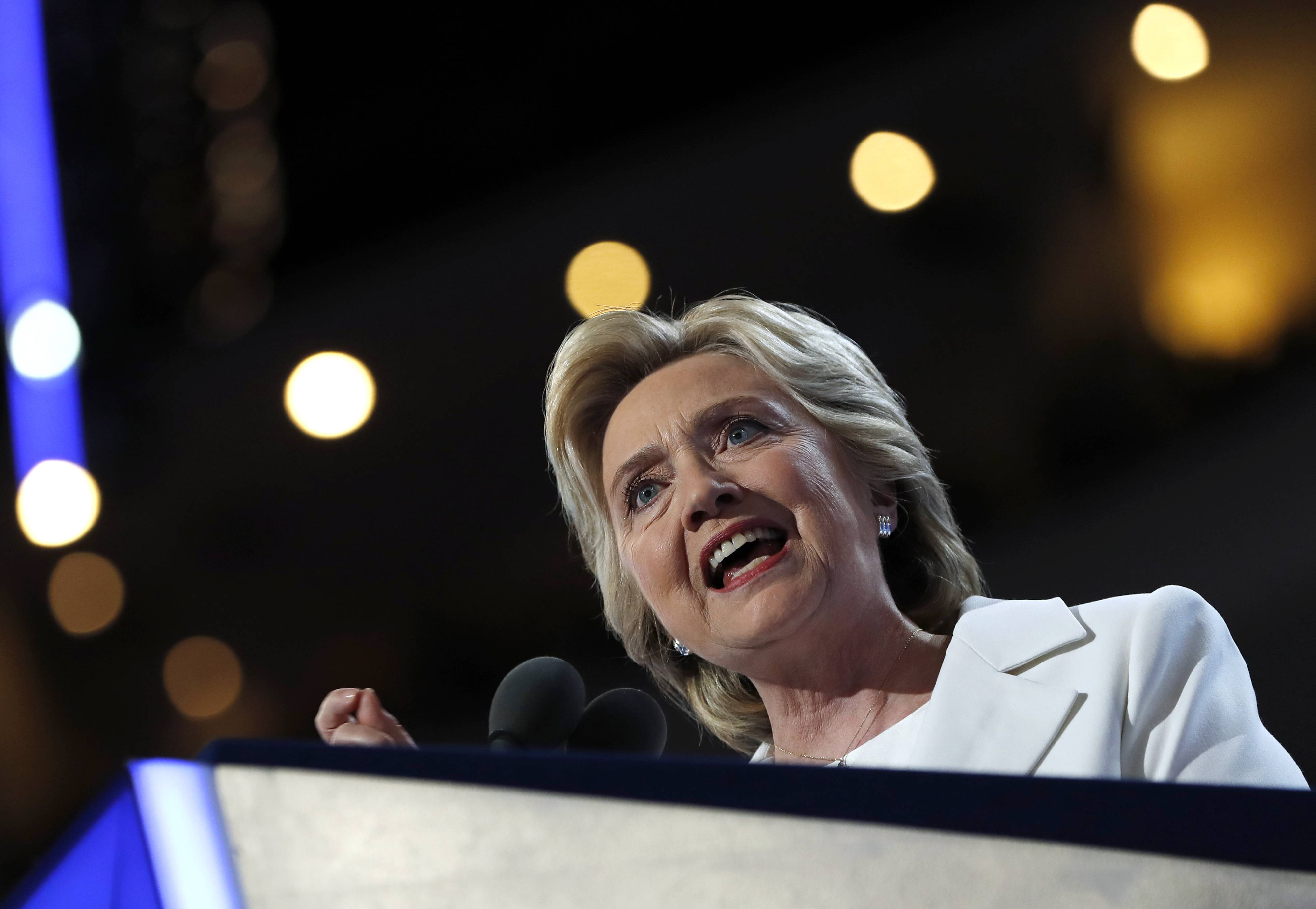 Democratic presidential nominee Hillary Clinton speaks during the final day of the Democratic National Convention in Philadelphia, Thursday, July 28, 2016.