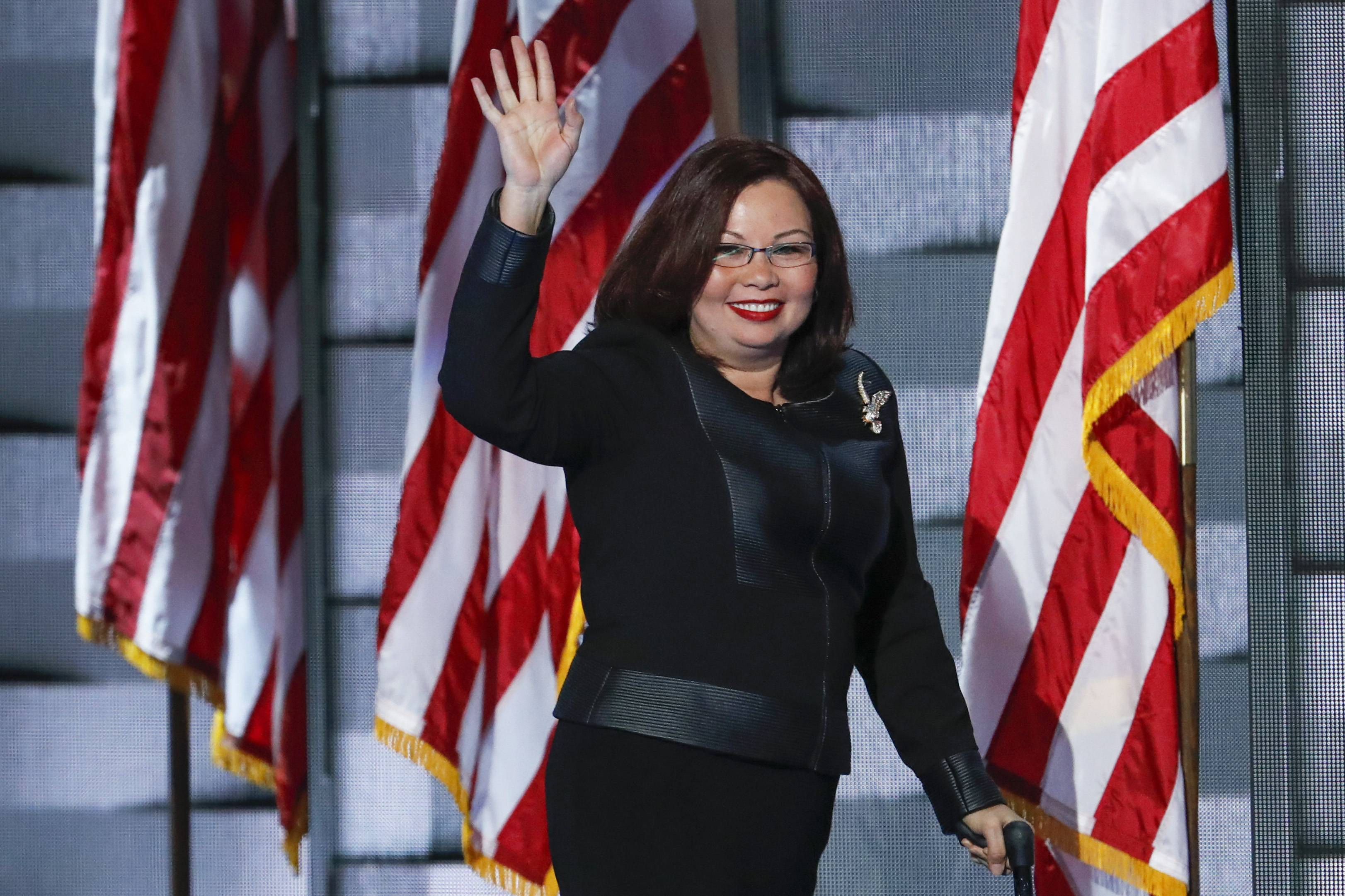 U.S. Rep. Tammy Duckworth spoke to the Democratic National Convention Thursday.