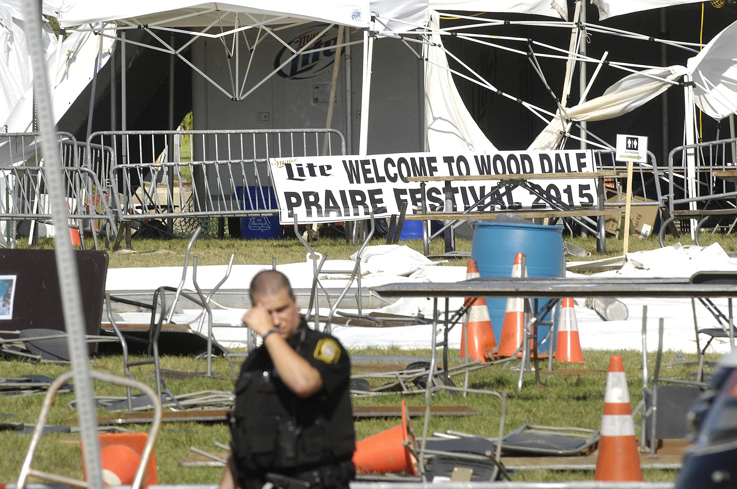 Two people ultimately died as a result of their injuries and 22 more were injured during last summer's Wood Dale Prairie Fest when a strong wind toppled a festival tent.