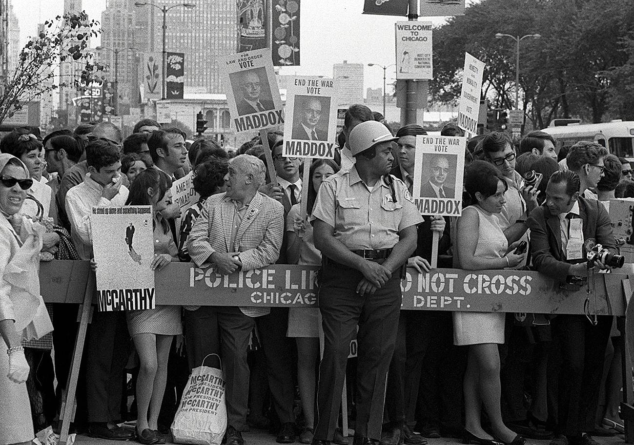 Chicago was the host city for the Democratic National Convention in August 1968. Protesters packed the streets and clashed with police.