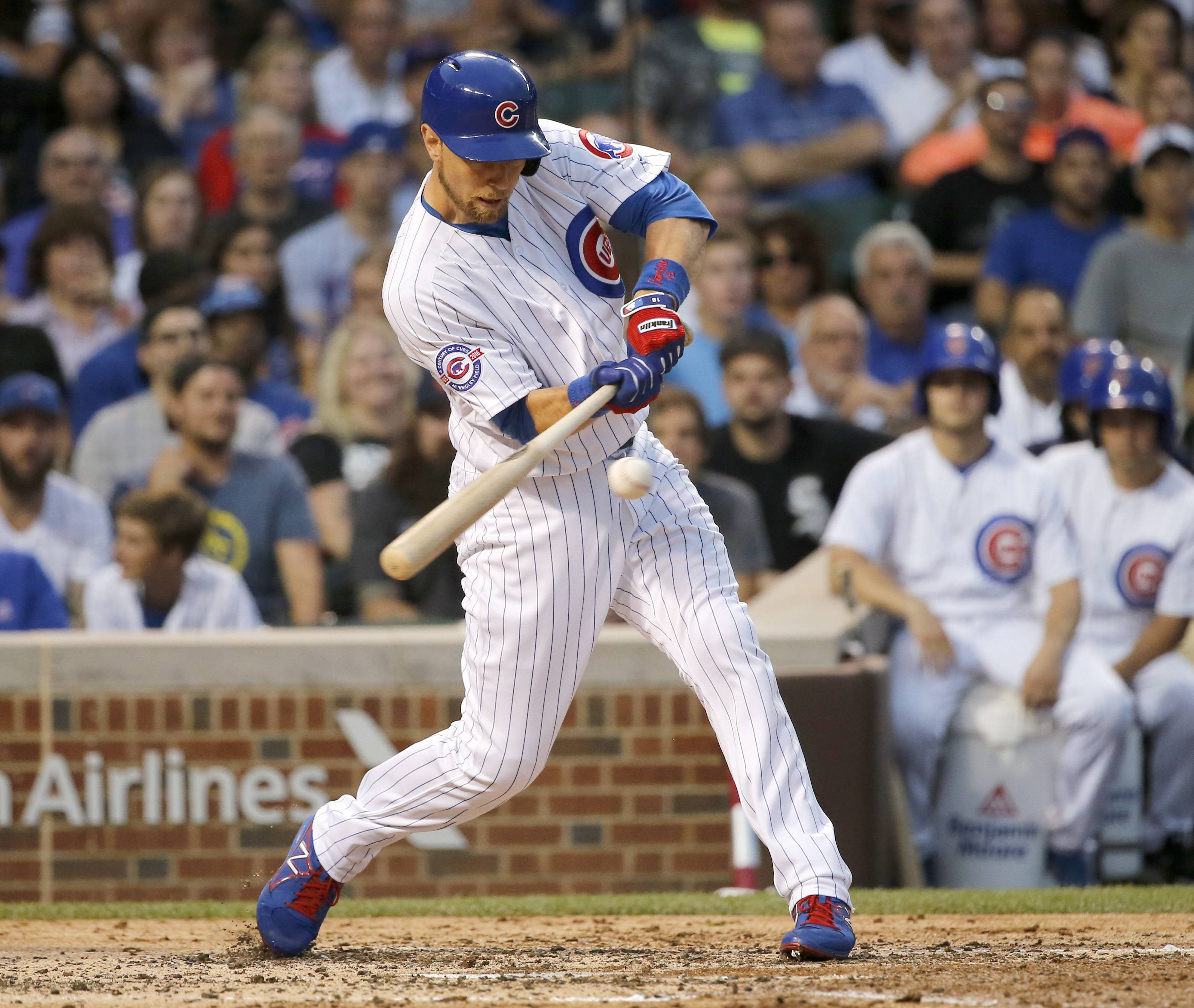 Chicago Cubs' Ben Zobrist hits an RBI single off Chicago White Sox starting pitcher Chris Sale during the third inning of a baseball game Thursday, July 28, 2016, in Chicago. (AP Photo/Charles Rex Arbogast)