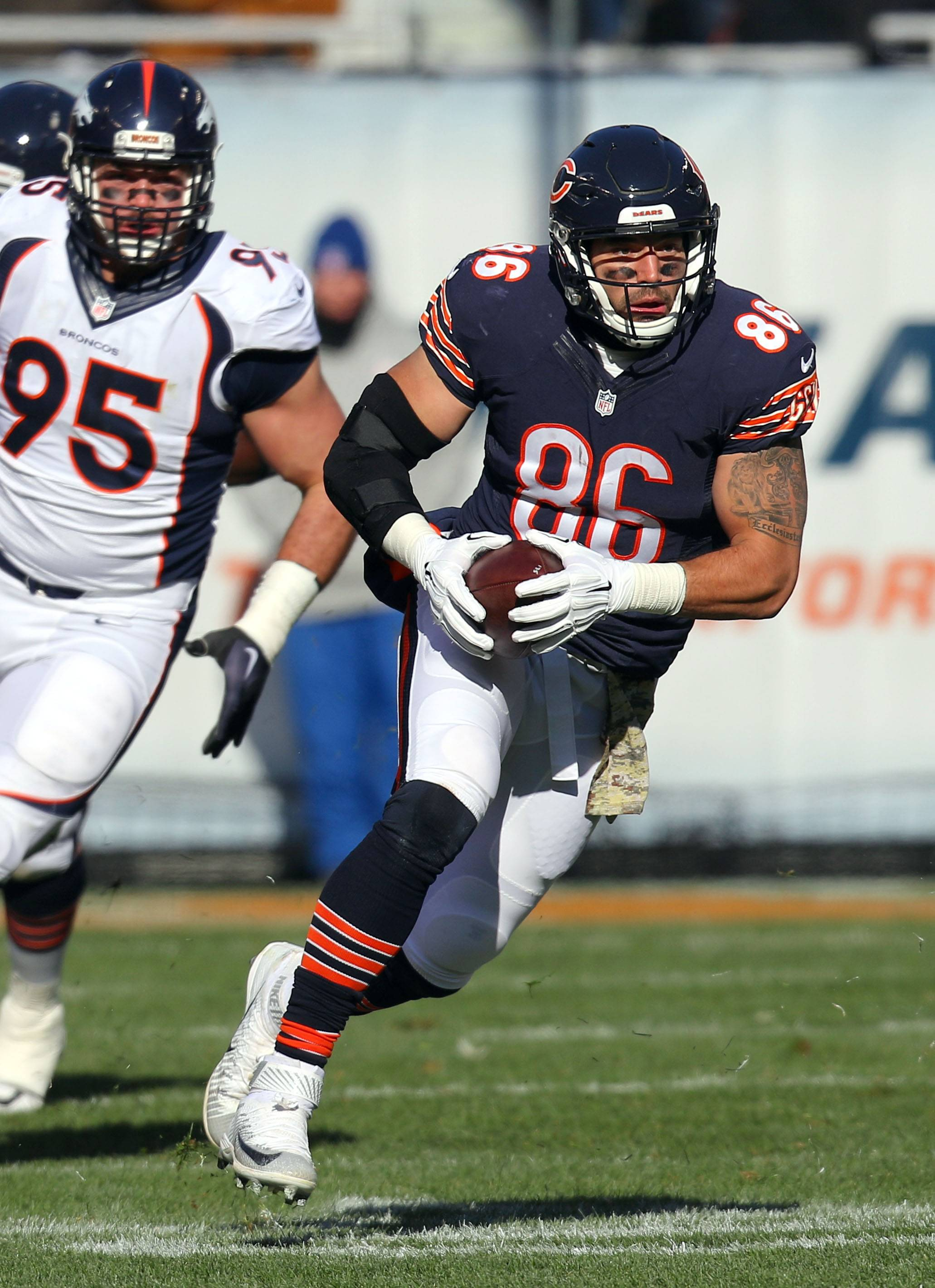 Chicago Bears tight end Zach Miller runs after the catch during their game Sunday, November 22, 2015 at Soldier Field in Chicago.