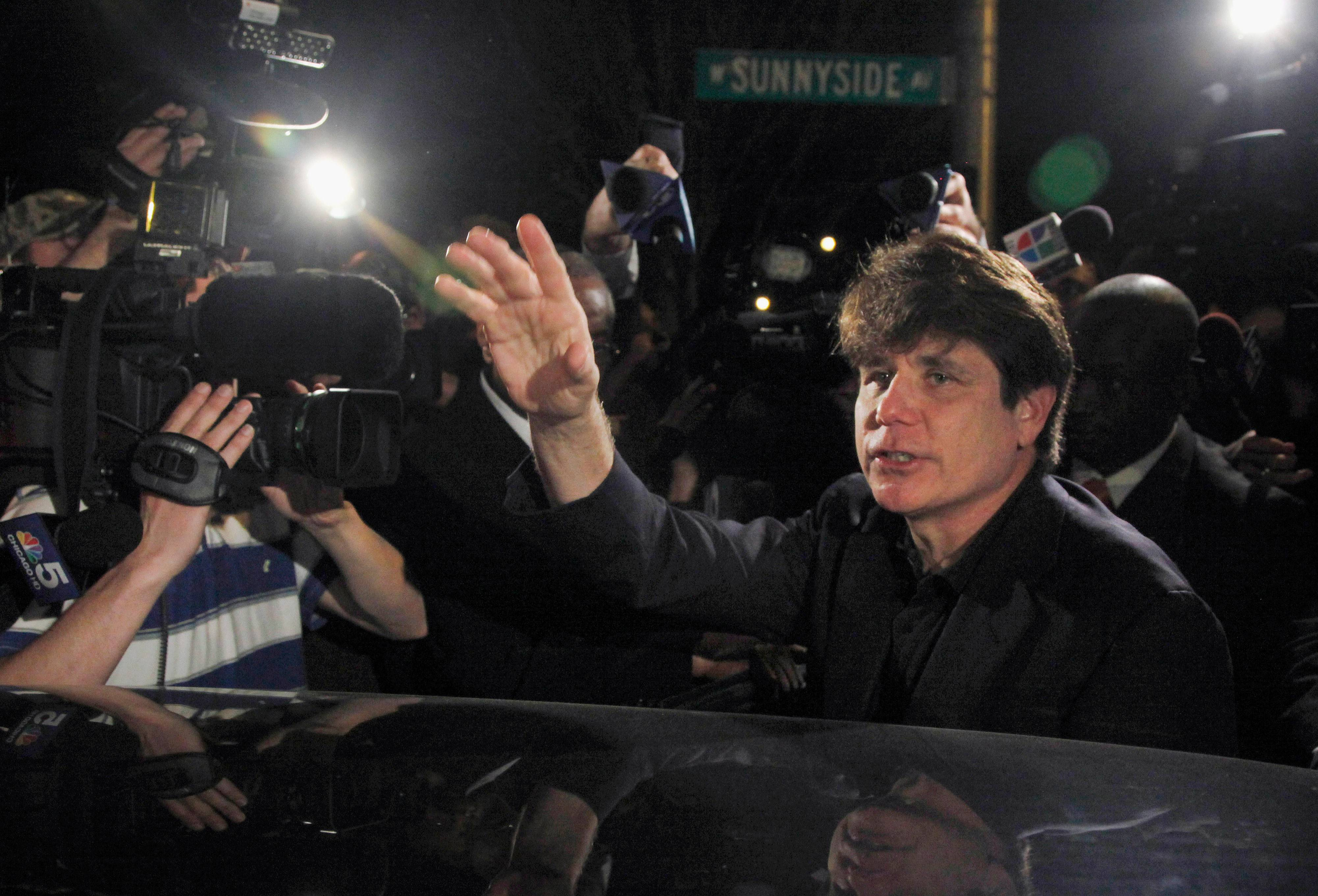 Former Illinois Gov. Rod Blagojevich departs his Chicago home for Littleton, Colorado, in March 2012 to begin his 14-year prison sentence on corruption charges.