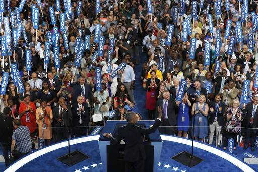 President Barack Obama waves to the delegates before speaking during the third day of the Democratic National Convention in Philadelphia , Wednesday, July 27, 2016. (AP Photo/Mary Altaffer)