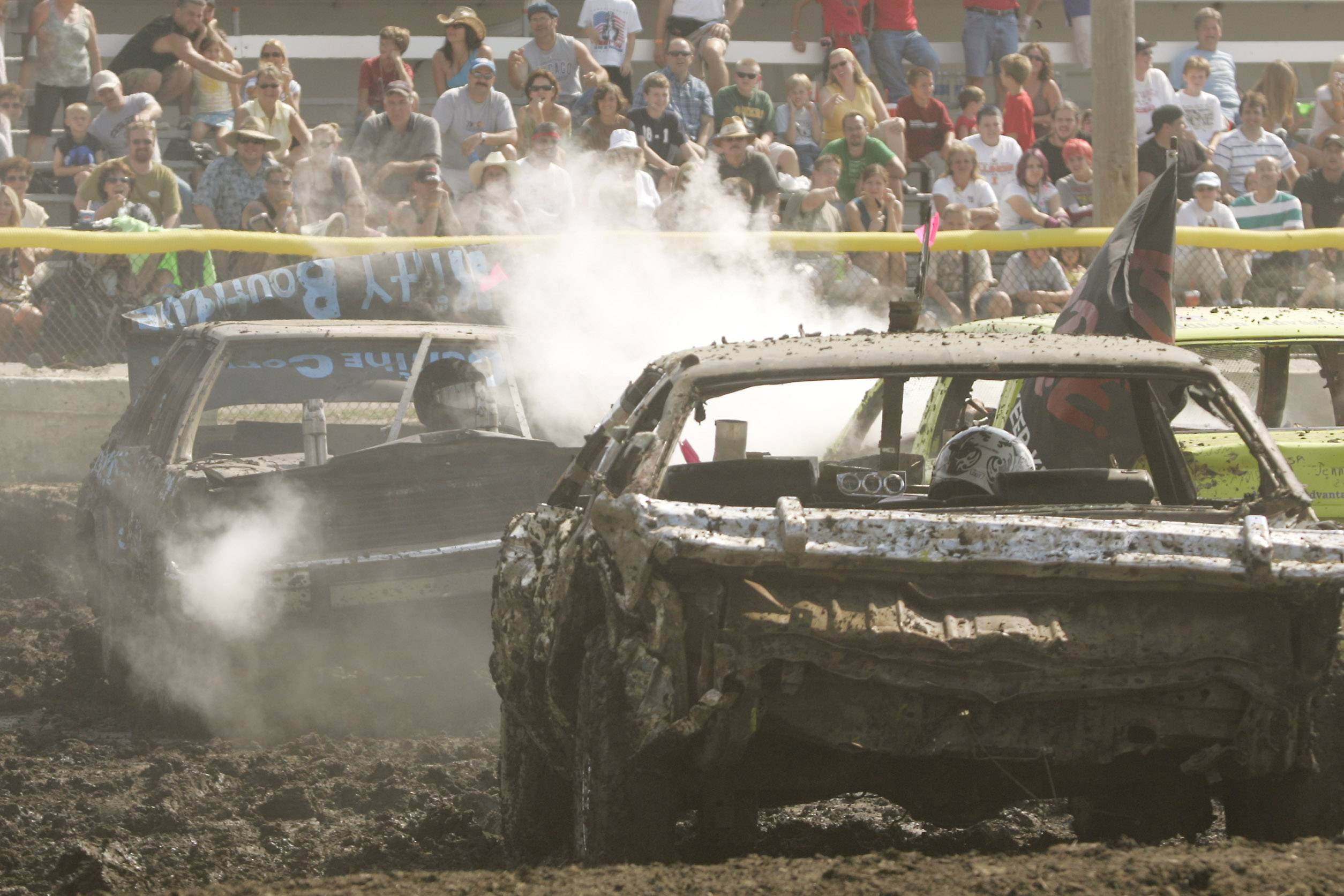 Crashes like the ones shown can be seen at the DuPage County Fair's demolition derby at 1 and 6 p.m. Sunday